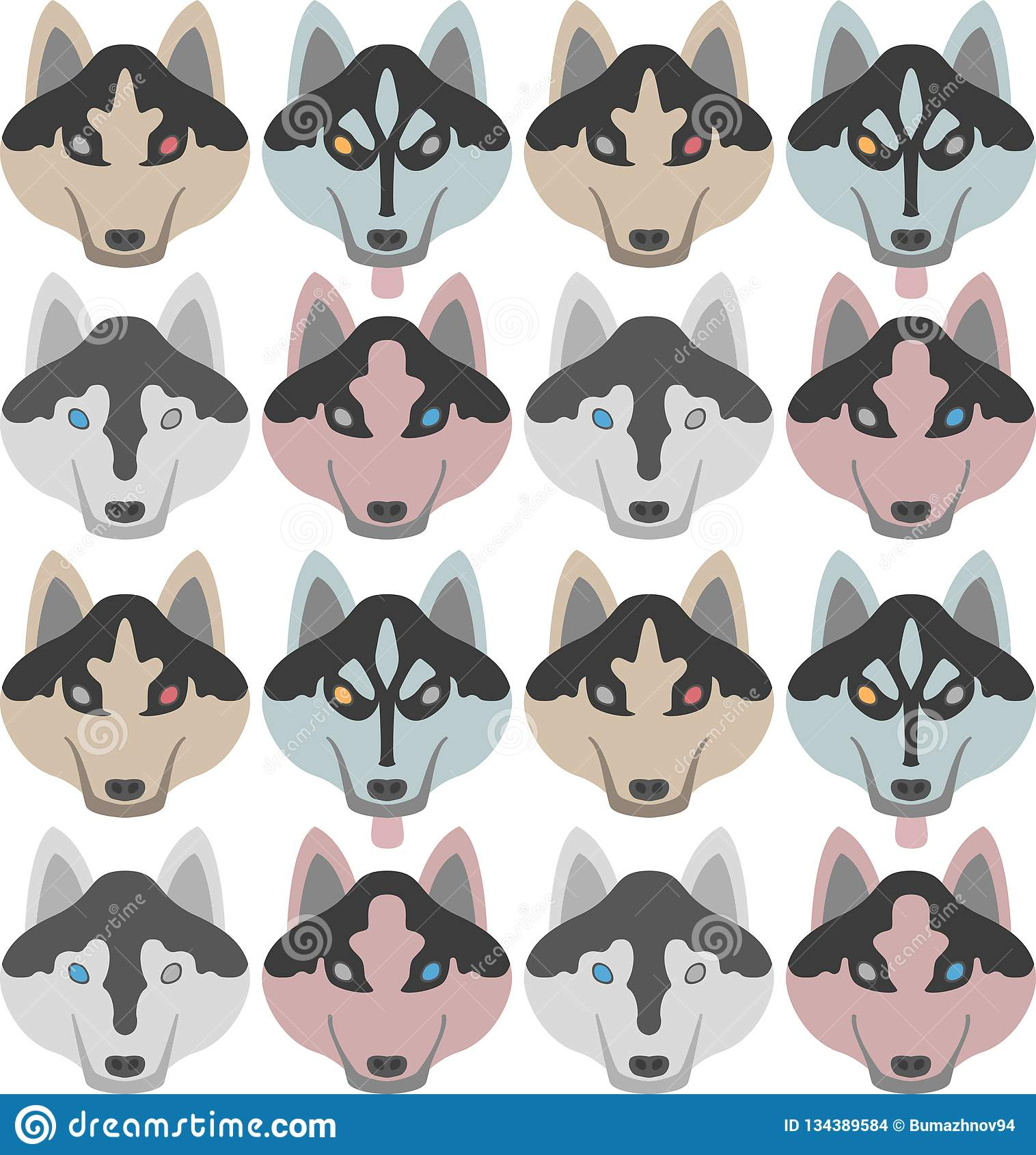 Muster von Hunden mit den Knochen und den Tatzen Nahtloses Haski, Labrador, Chihuahua, Pug, Dalmatiner