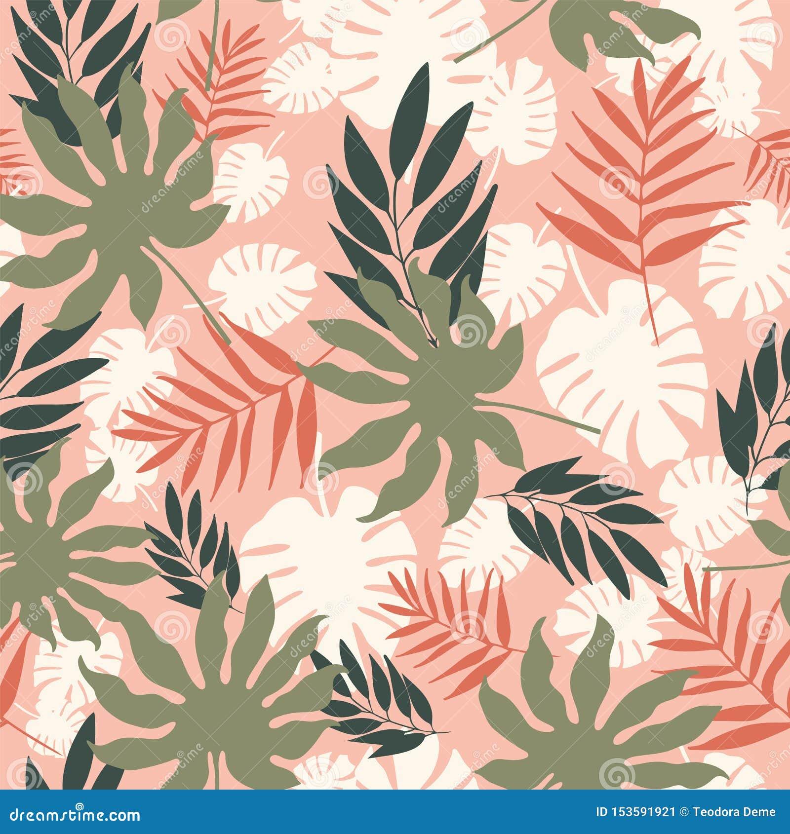Musterwiederholung der weichen tropischen Pastellblätter des Vektors nahtlose