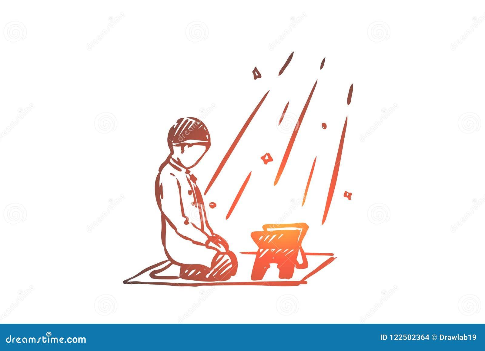 Musulmanes, árabe, Islam, religión, koran, muchacho, concepto del niño Vector aislado dibujado mano