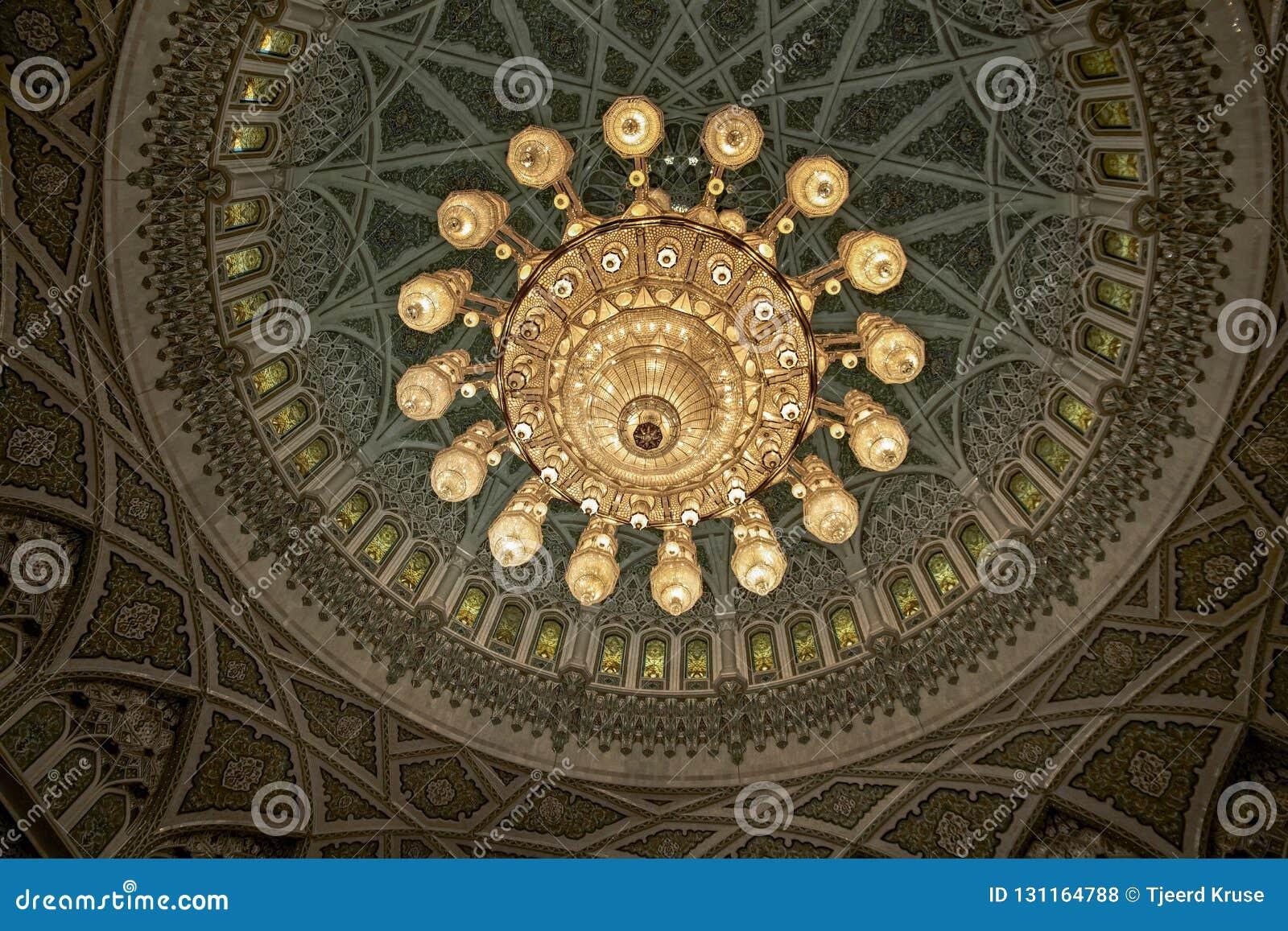 MUSZKAT, OMAN Wewnętrzny sułtanu Qaboos Uroczysty meczet projekt ja