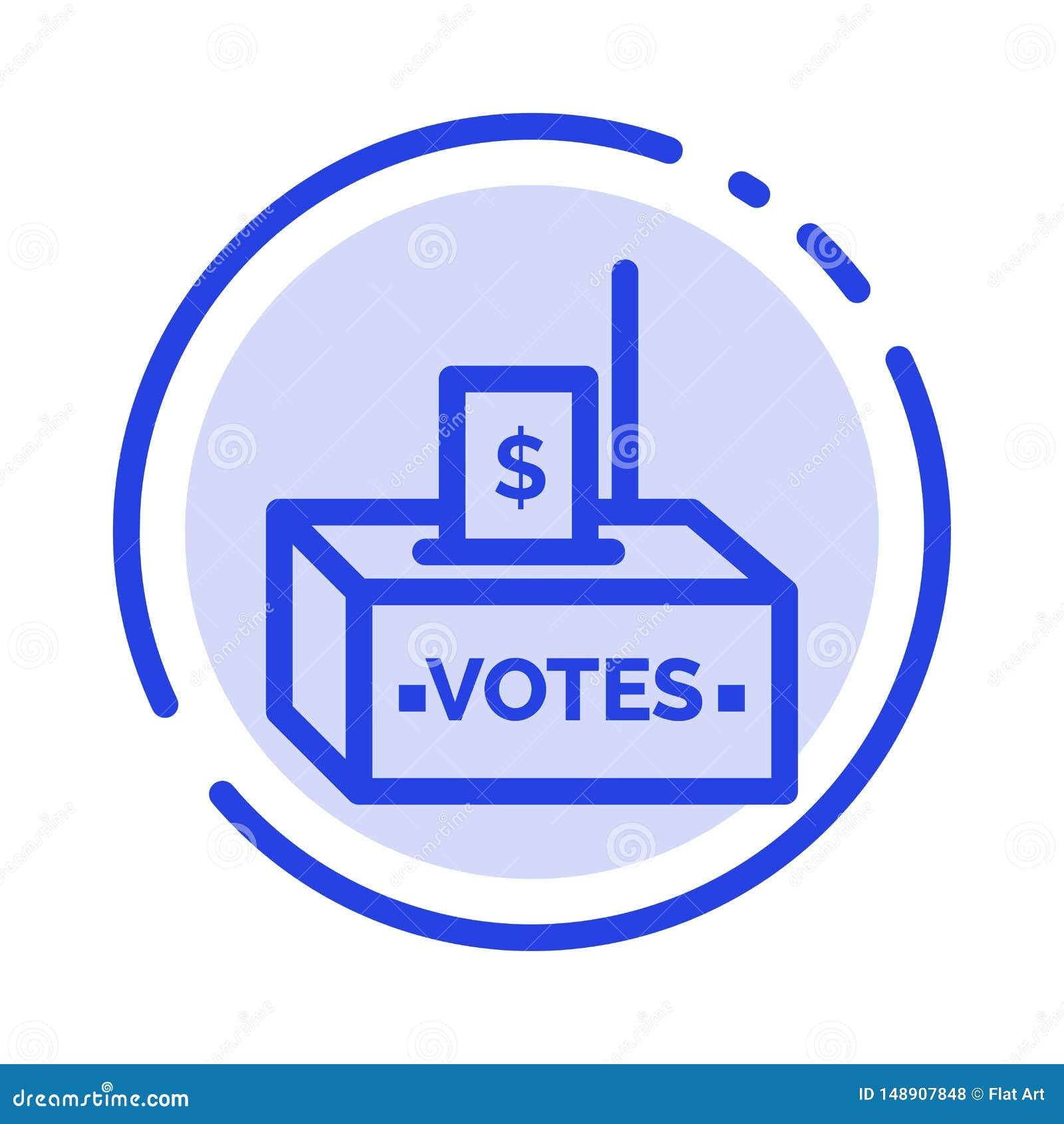 Muta korruption, val, påverkan, blå prickig linje linje symbol för pengar