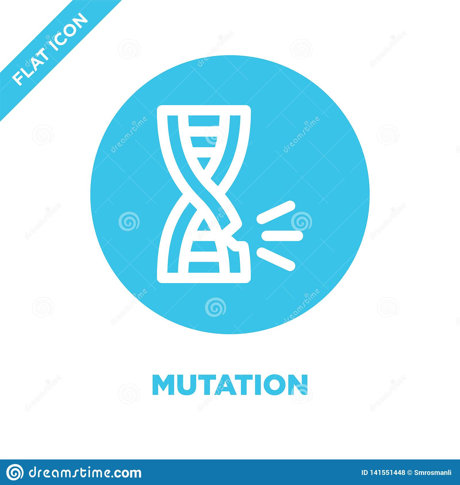 mutation icon vector. Thin line mutation outline icon vector illustration.mutation symbol for use on web and mobile apps, logo,