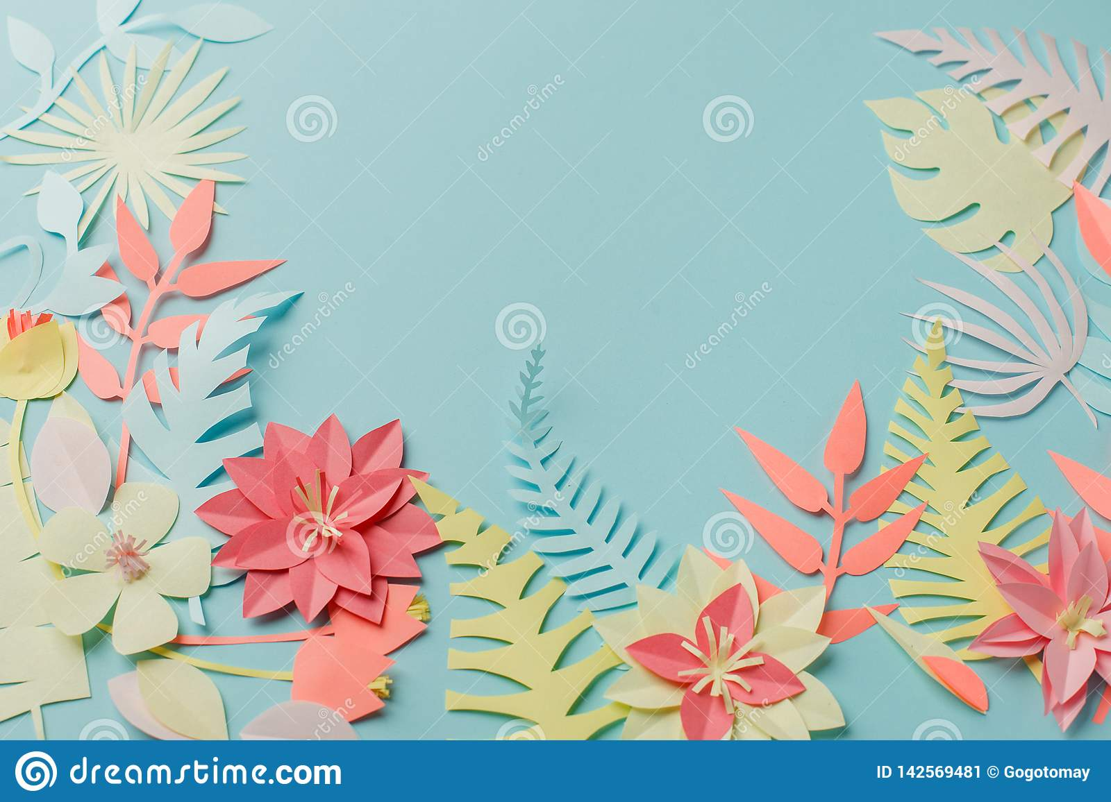 Muted Color Colorful Flower Composition Handmade Papercraft