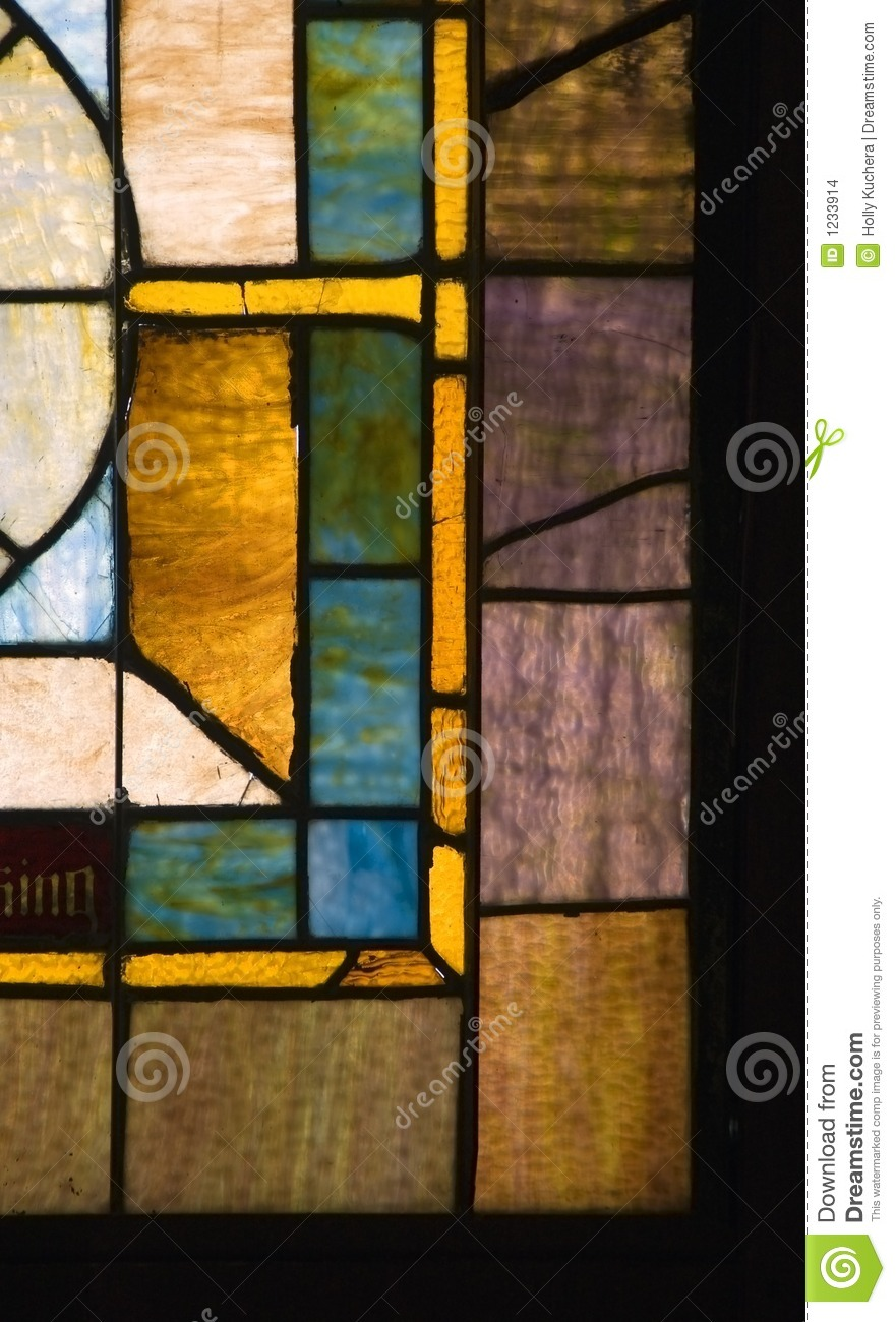 Muted Colors Vintage Stained Glass Church Window Stock