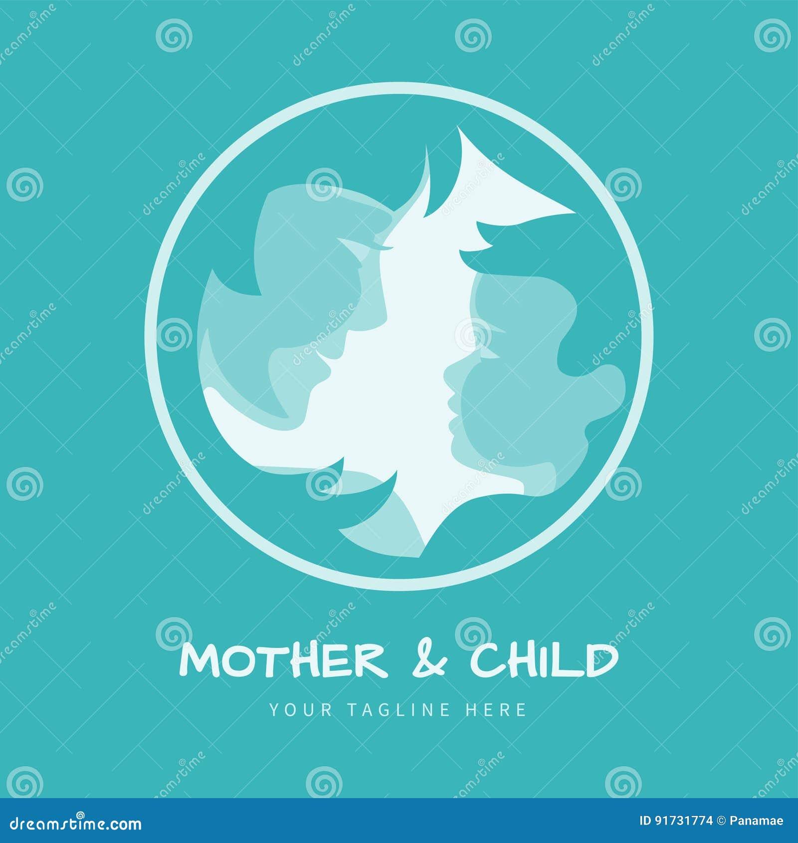 Mutter Mit Ihrem Baby Stilisierte Schattenbilder Im Runden Rahmen ...