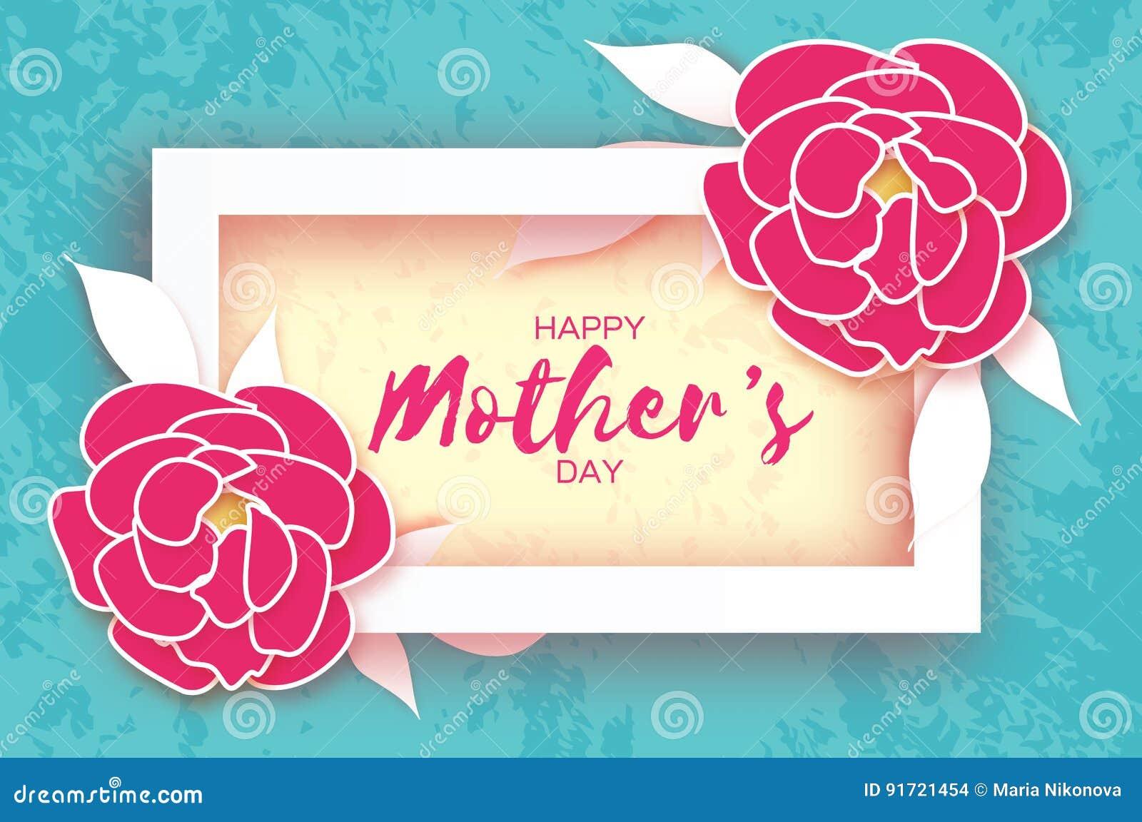 Mutter`s Tag Rosa Blumengrußkarte Papierschnitt Pfingstrosenblume ...
