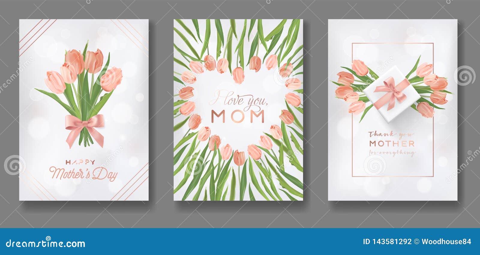 Mutter-Tagesgruß-Karten-Entwurfs-Satz Glücklicher Mutter-Tagesflieger mit Tulip Flowers, Geschenken und goldenen Funkeln-Herzen f