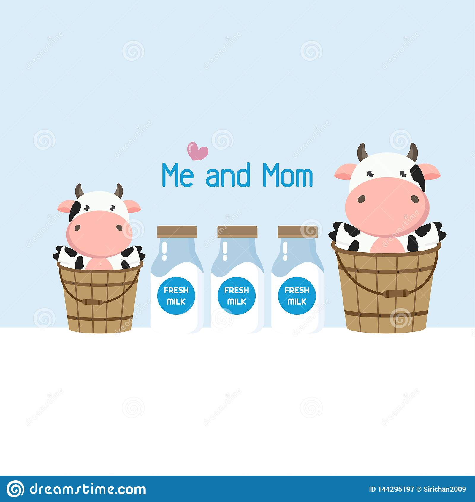 Mutter- und Babykuh im Milcheimer Nette Viehkarikatur