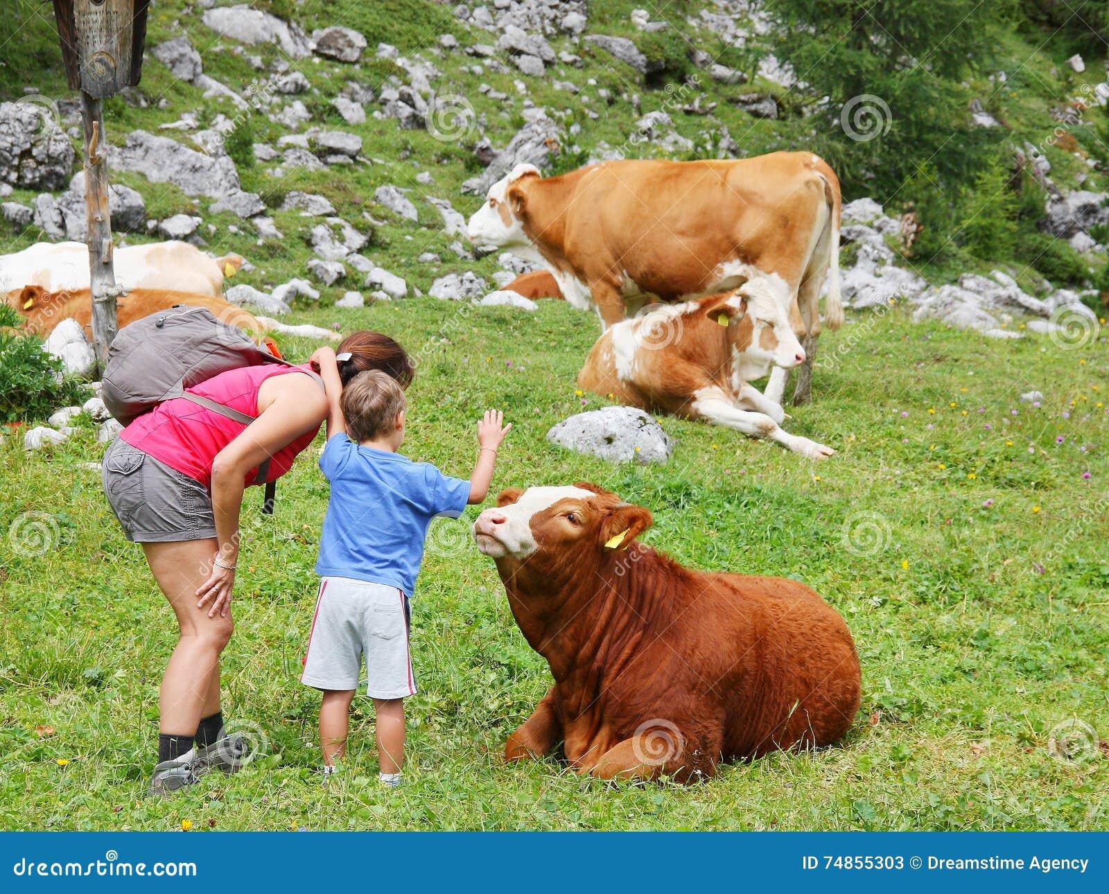 Mutter und Kind genießen Gebirgsnatur in der Sommersaison