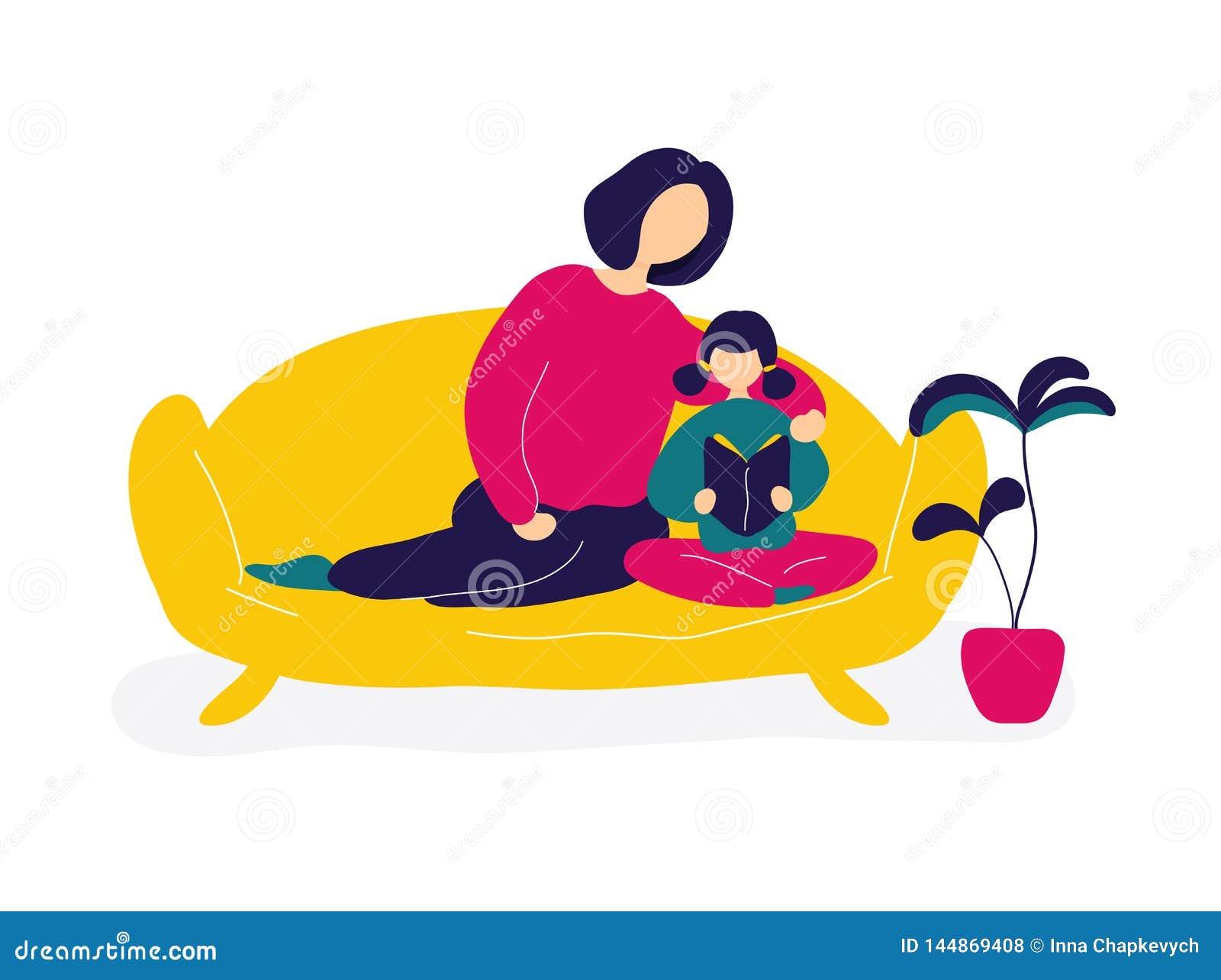 Mutterleseb?cher mit Tochter auf Sofa