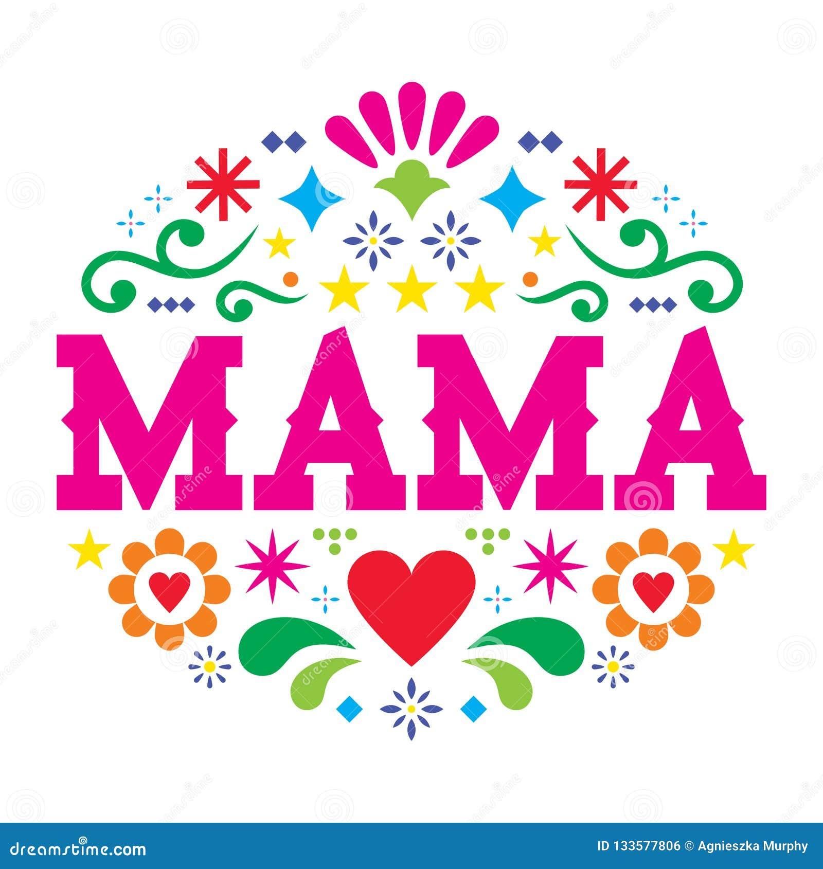 Muttertagvektor-Grußkarte, mexikanisches Volkskunstmuttermuster mit Blumen, Herzen und abstrakte Formen