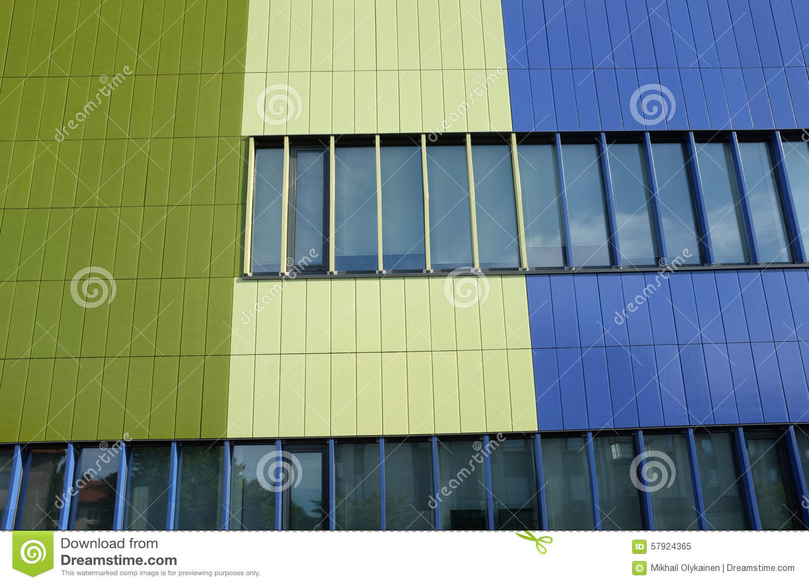 Muur van moderne de bouw blauwe en groene kleur, horizontale foto ...