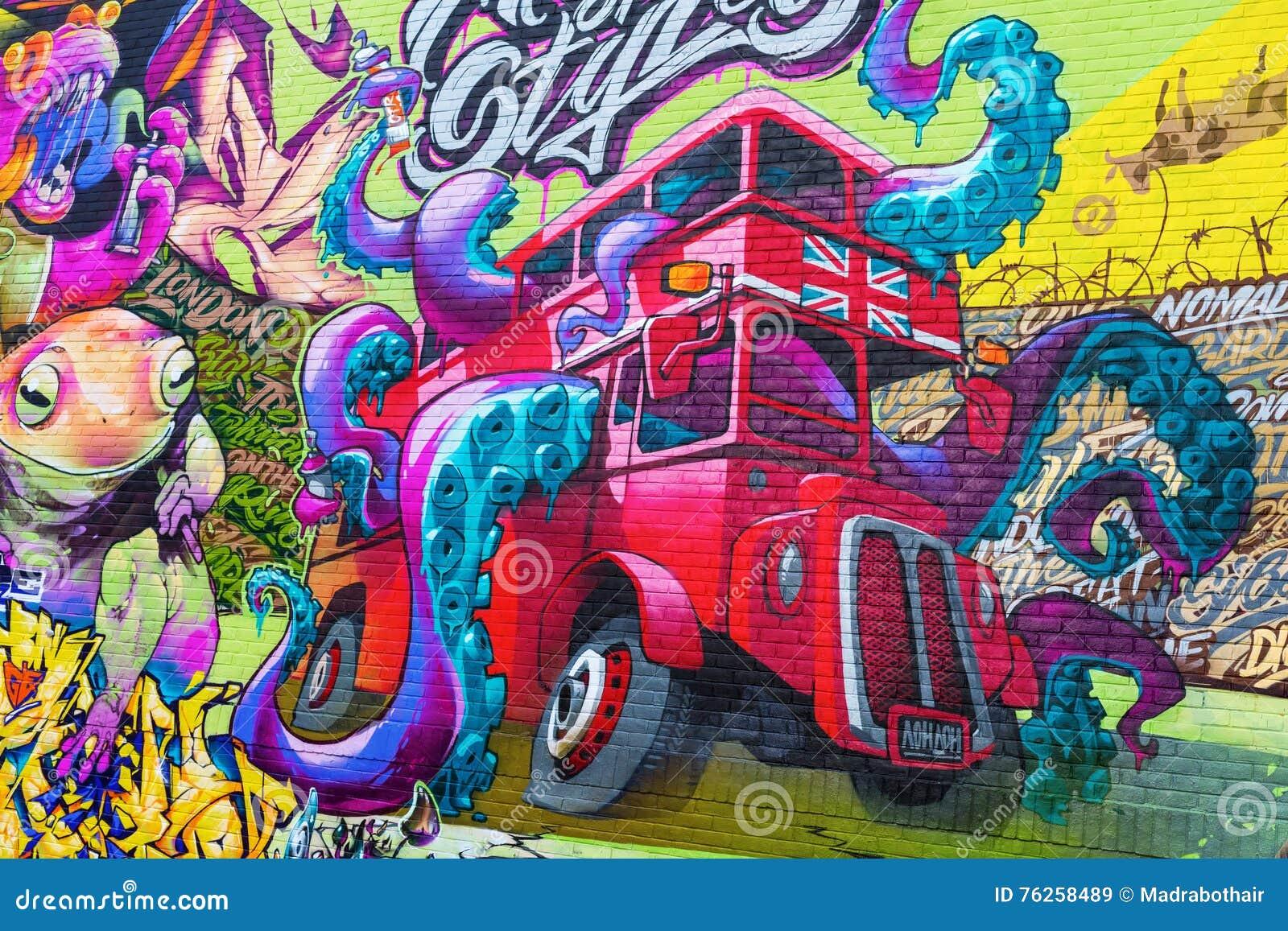 Muurschilderingkunst op een muur in de stad van Londen, het UK