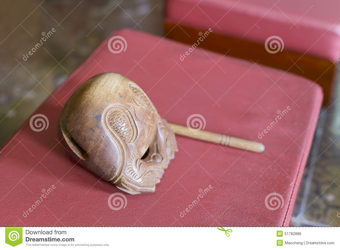 Muyu wood fish in the temple stock photo image 51782886 for Wooden fish instrument