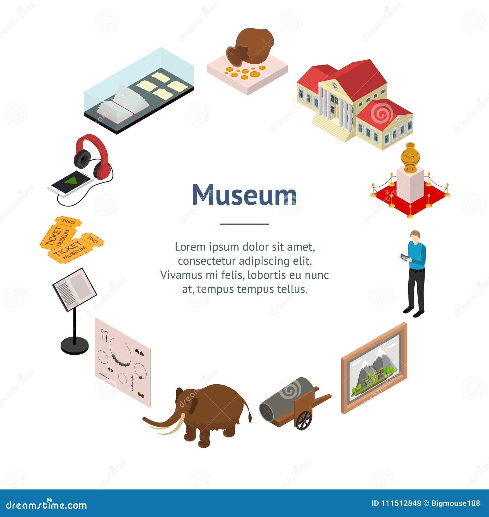 Muzealnego eksponat galerii sztandaru karty okręgu Isometric widok wektor