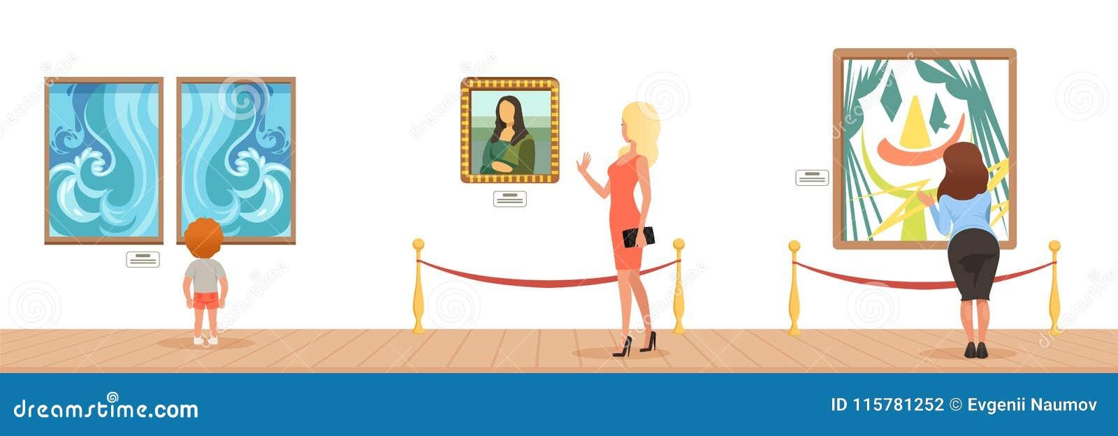 Muzealni goście patrzeje obrazy wiesza na galerii ścianie, ludzie uczęszcza muzealną horyzontalną wektorową ilustrację