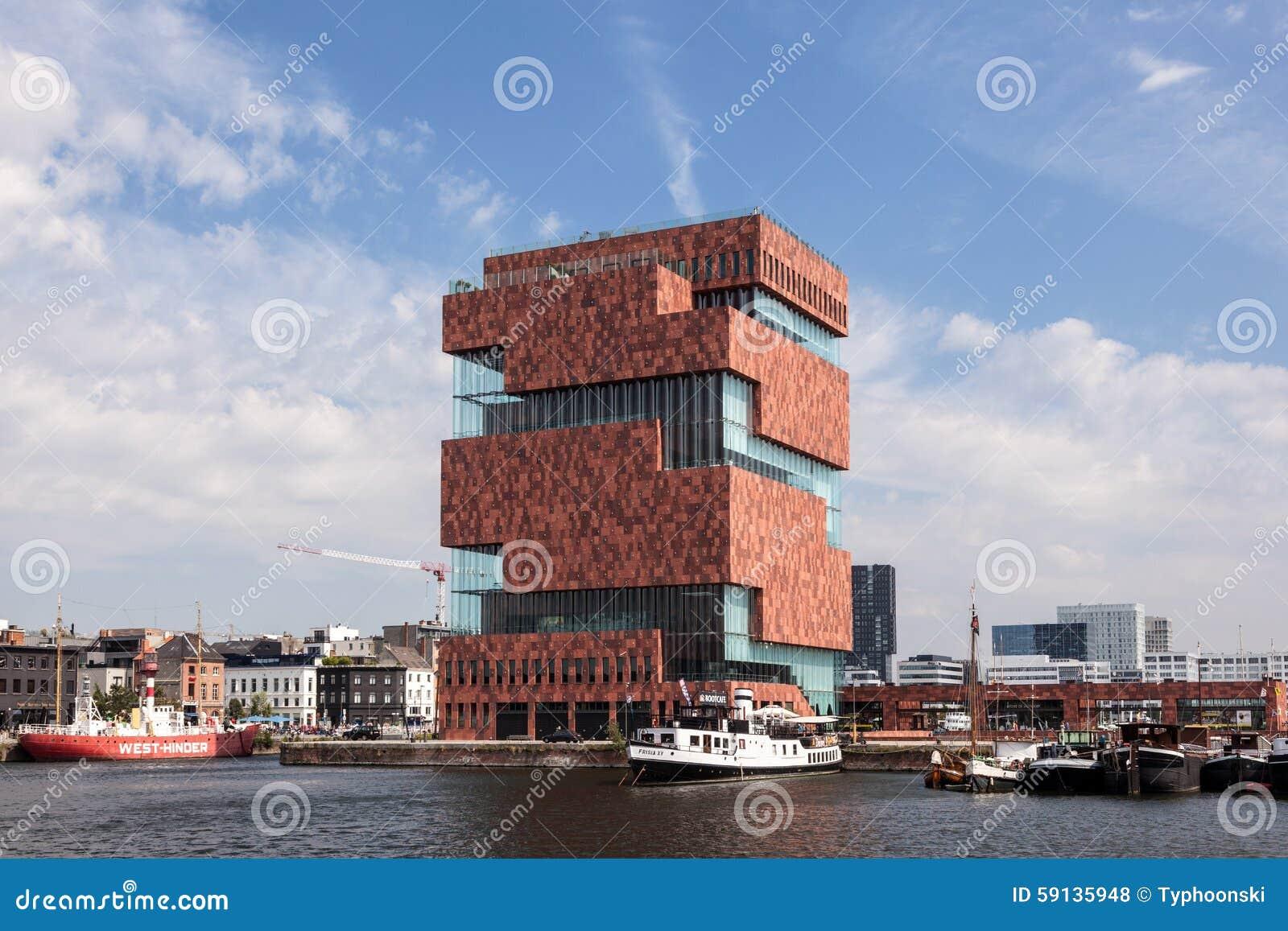 Muzeum przy rzeką w Antwerp, Belgia - MAS -
