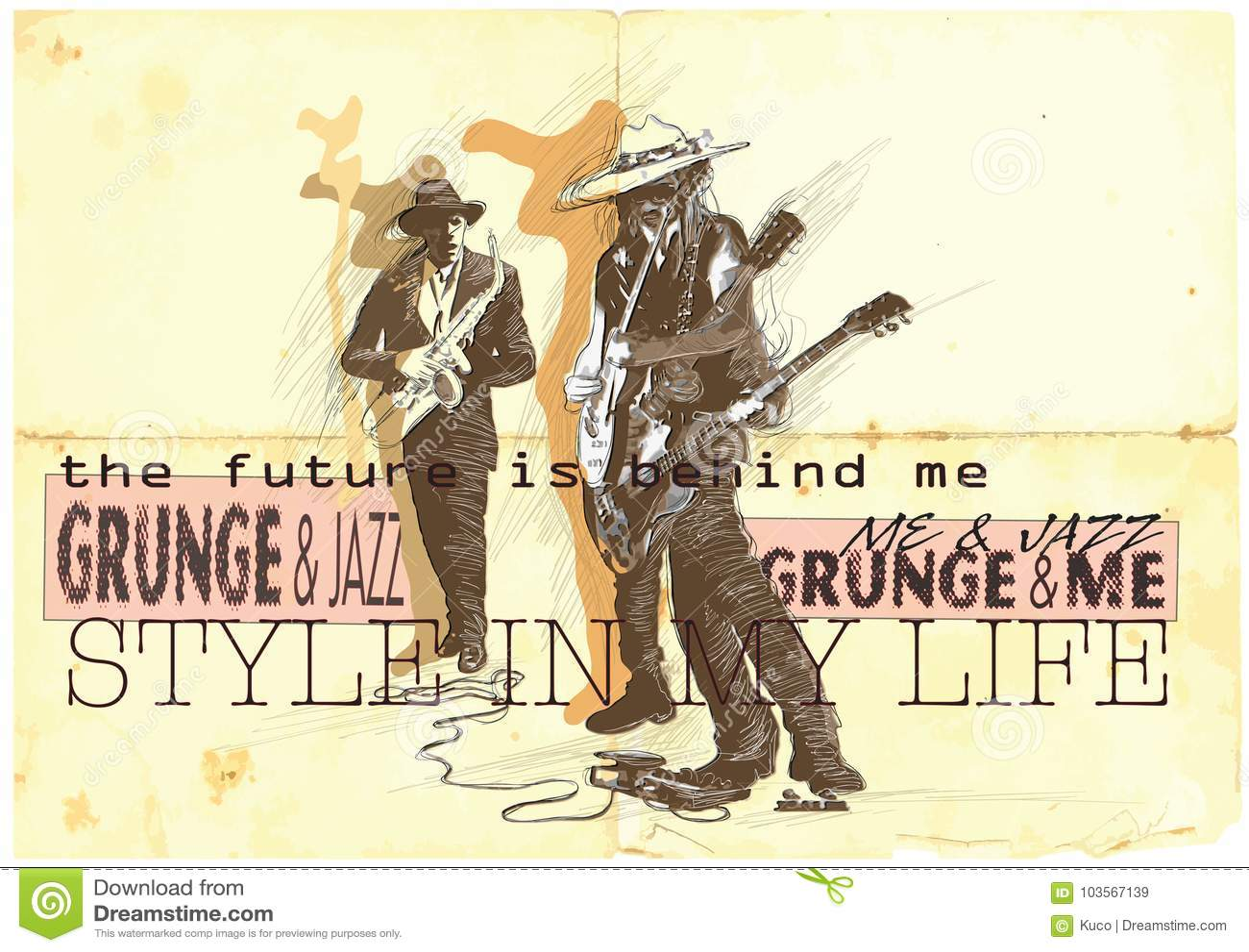 Muziek, Musicus Placard Grunge en jazzjamzitting