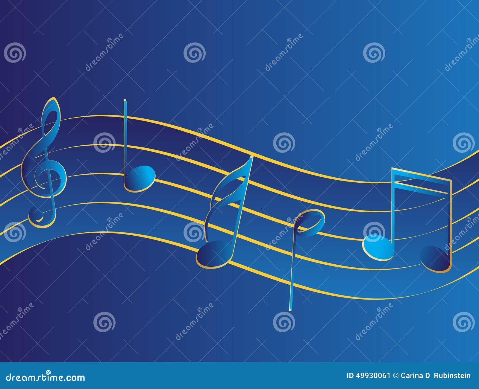 Muziek pentagram met sleutels in blauw