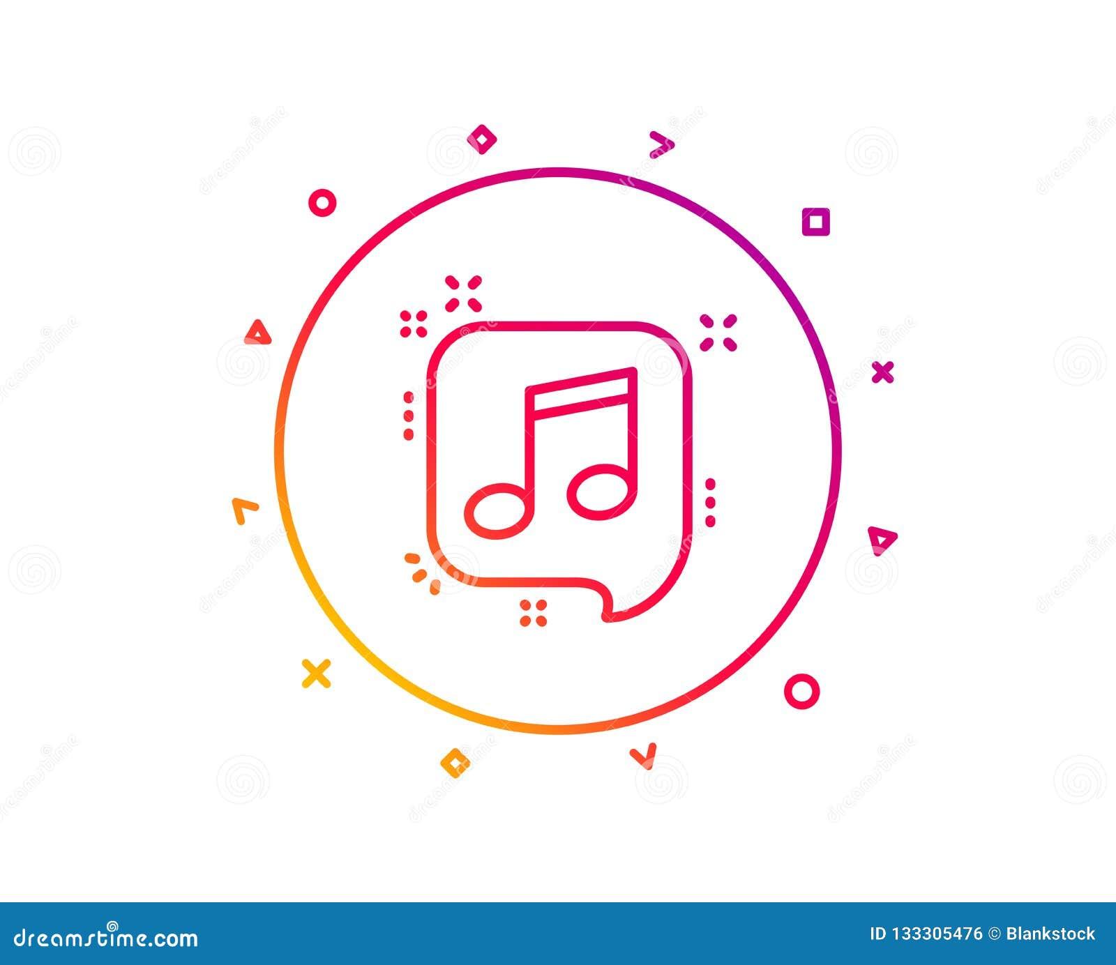 Muzieknoot in de lijnpictogram van de toespraakbel Muziekteken Vector