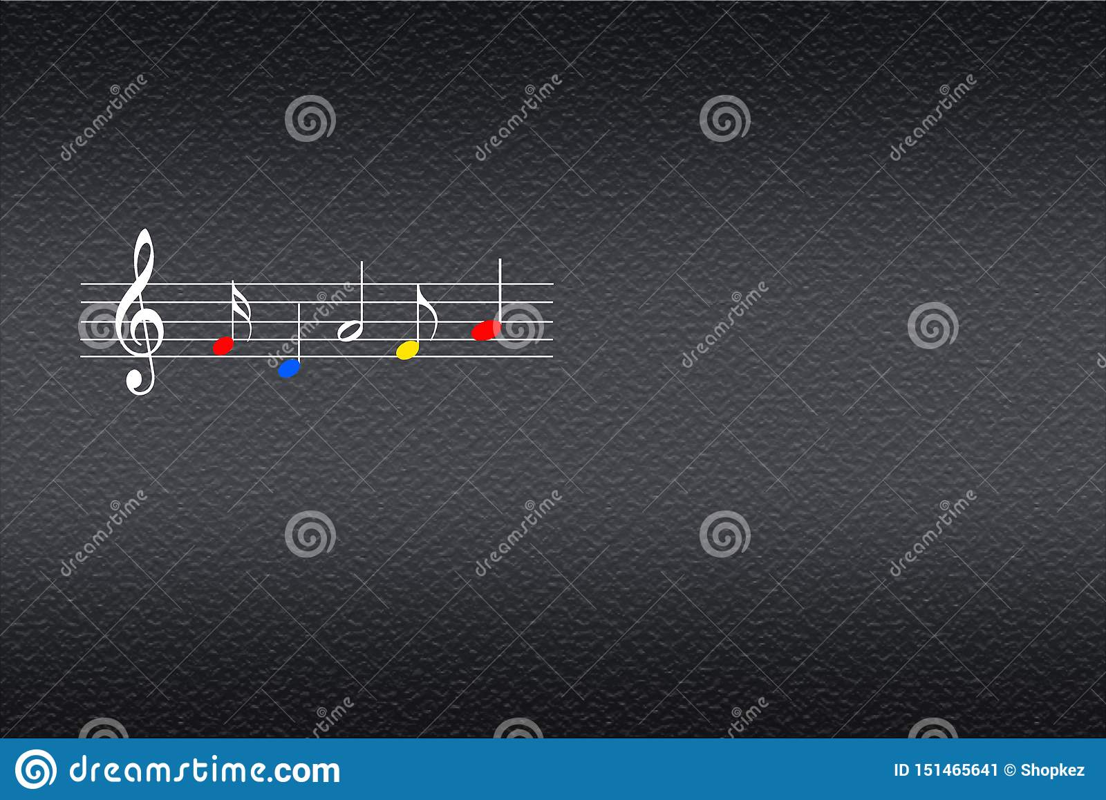 Muziekstaaf met kleurrijke muzieknoten op de donkere achtergrond