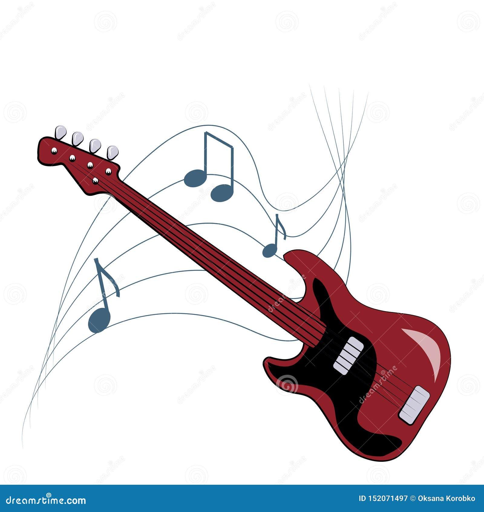 Muzikaal embleem met gitaar en nota s over witte achtergrond