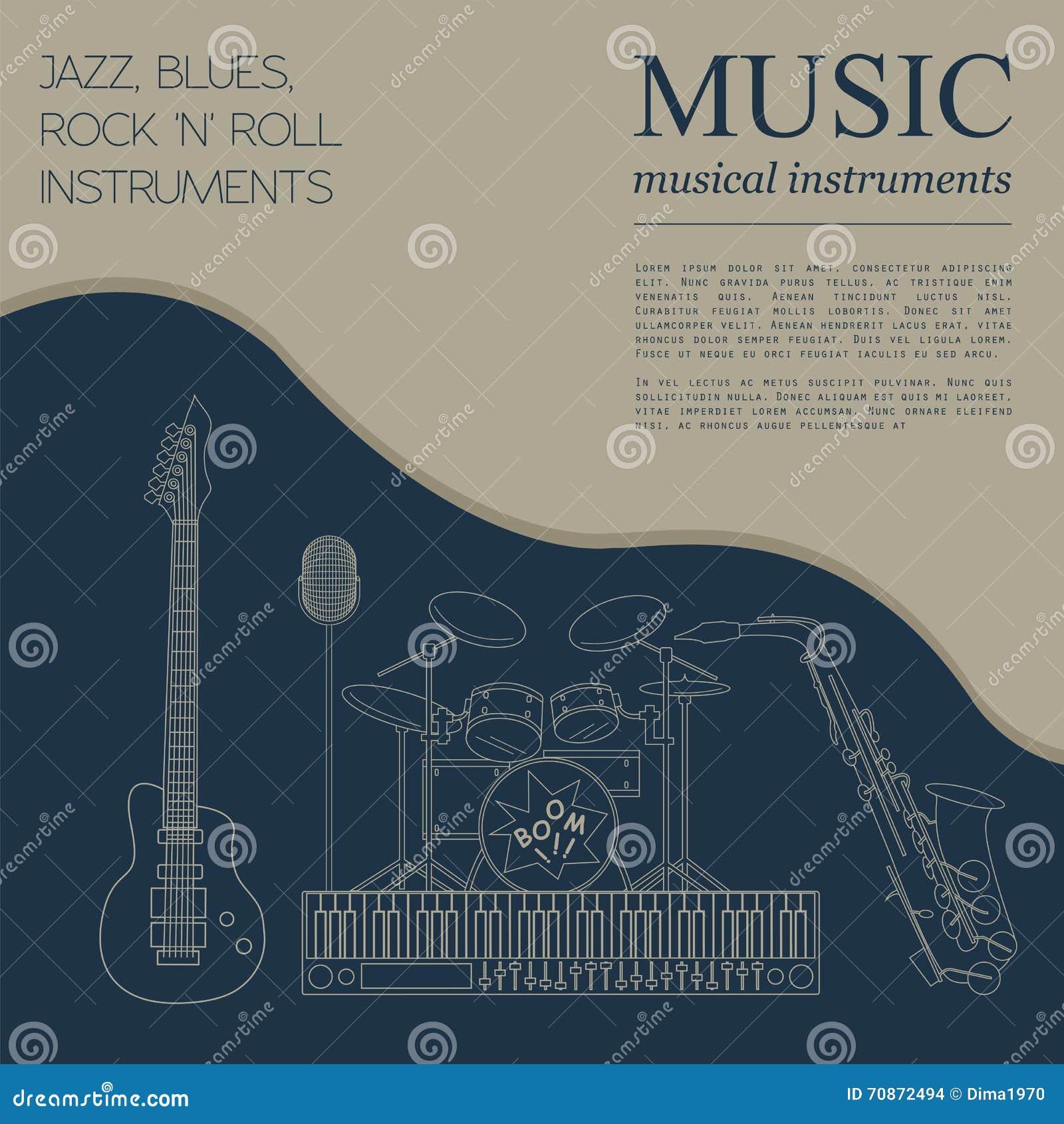 Muzikaal instrumenten grafisch malplaatje Jazz, blauw, de bedelaars van het rots` n ` broodje