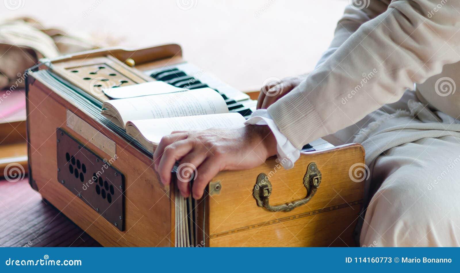 Muzikaal vermaak met harmonium tijdens Guru Purnima