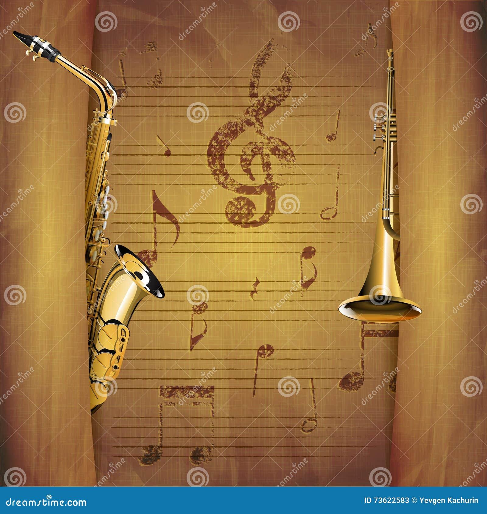 Muzikale Achtergrondsaxofoon en trompet oude muzikale bladen