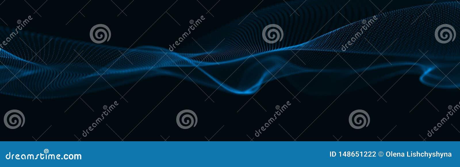 Muzikale golf van deeltjes Correcte structurele verbindingen Abstracte achtergrond met een golf van lichtgevende deeltjes 3d golf