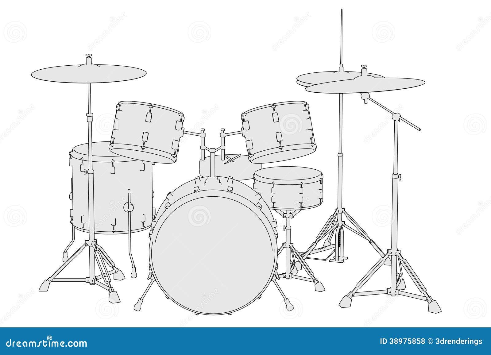 muzikale instrumenten drumstel stock illustratie