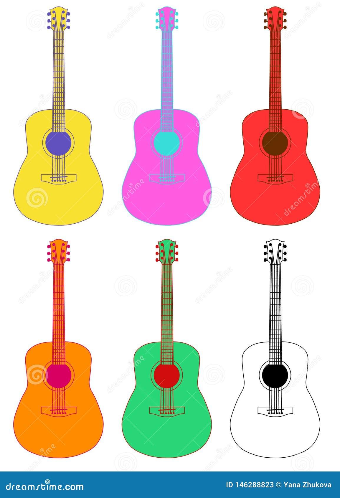 Muzikale instrumentengitaar kleurrijk op witte vlakke achtergrondmuziek