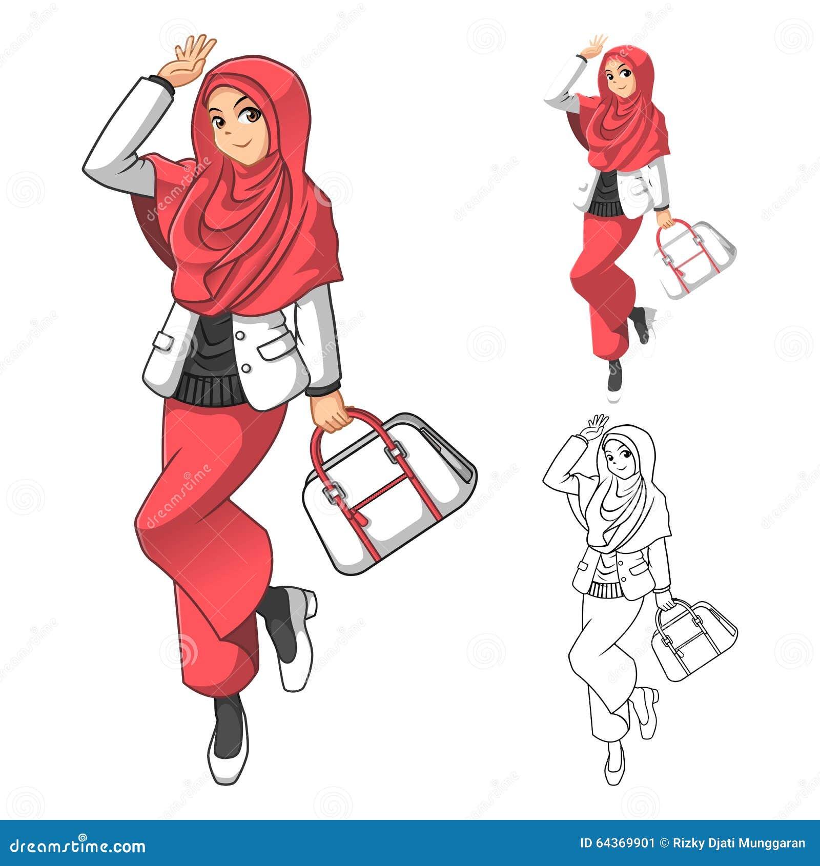 Muzułmańska dziewczyny moda Jest ubranym Zieloną przesłonę lub szalika z Żółtą kurtką i butami