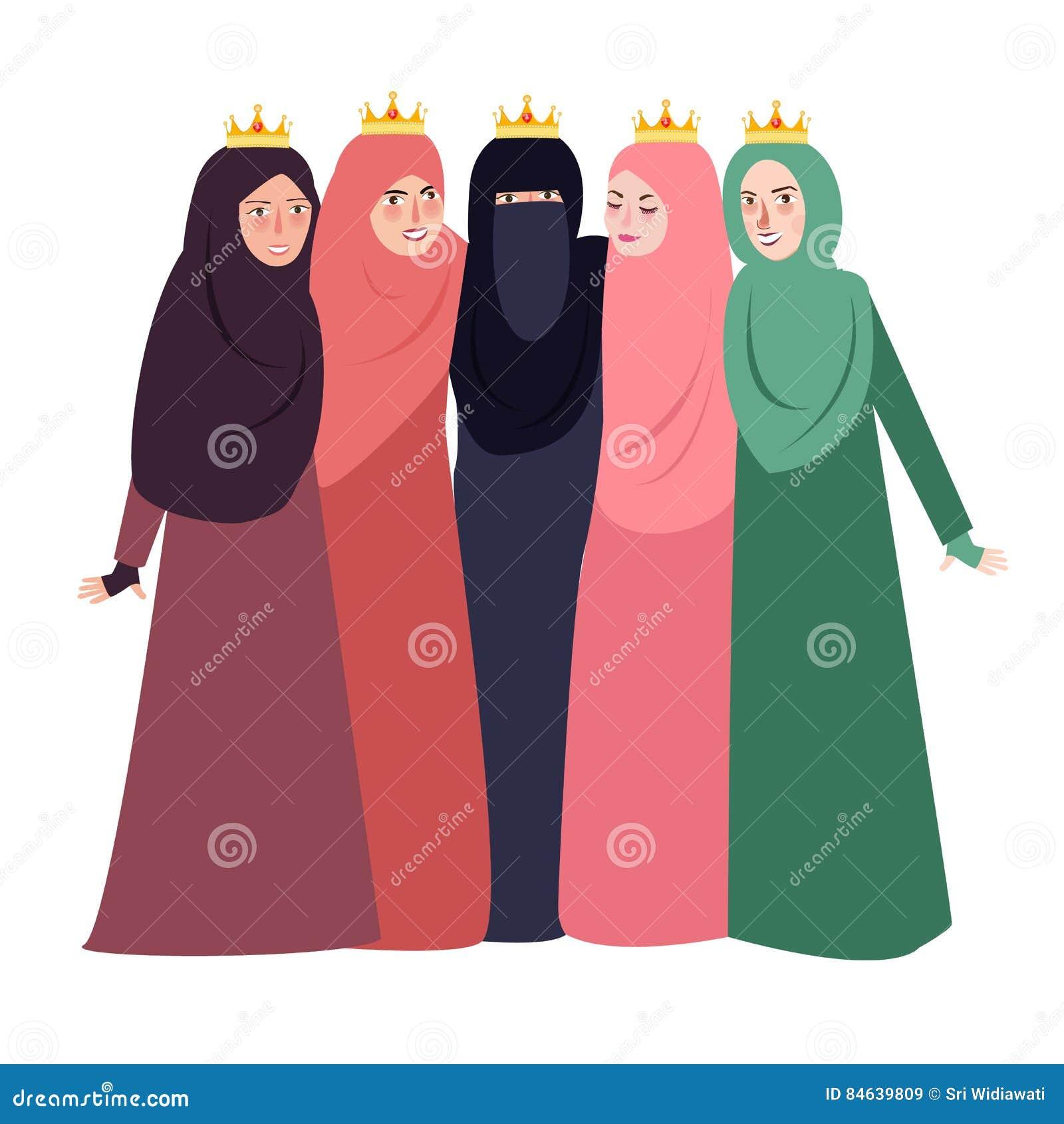 Muzułmańska kobieta jest ubranym przesłoien ludzi i przyjaźni dziewczyn wpólnie pięknego islam wpólnie