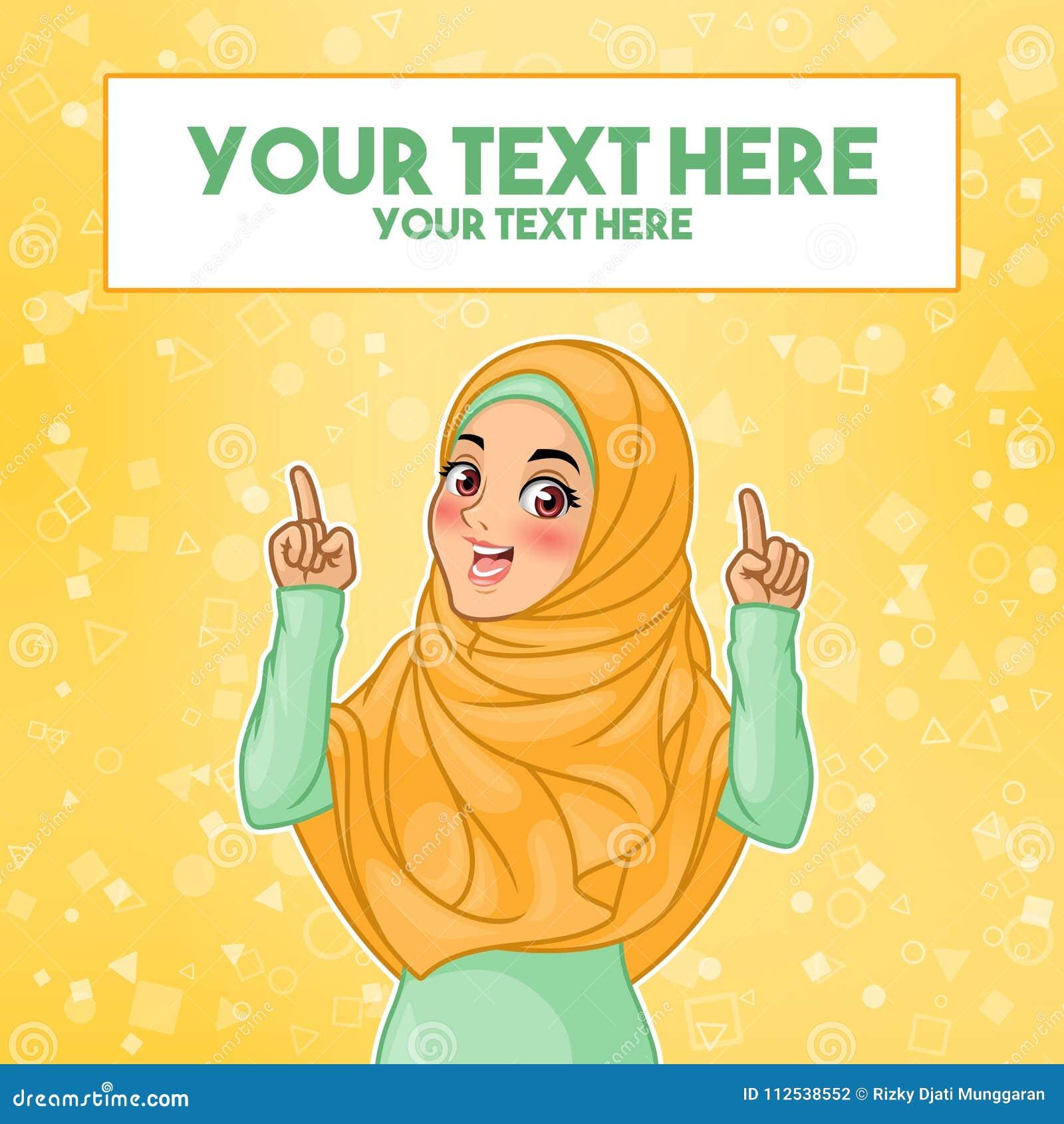 Muzułmańska kobieta wskazuje palec up przy kopii przestrzenią