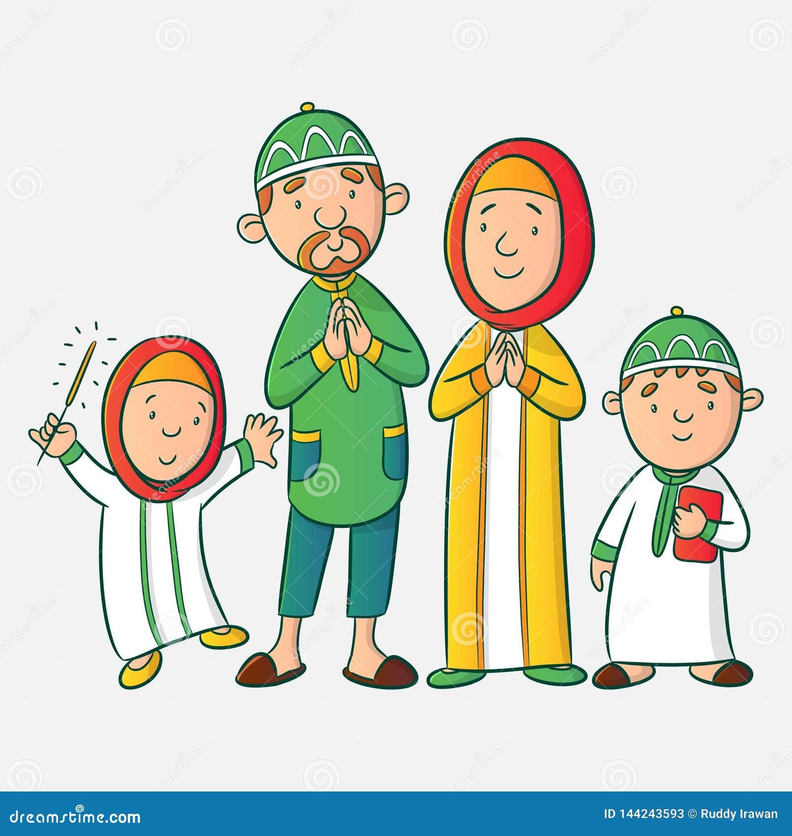 Muzułmańska kreskówki rodzina