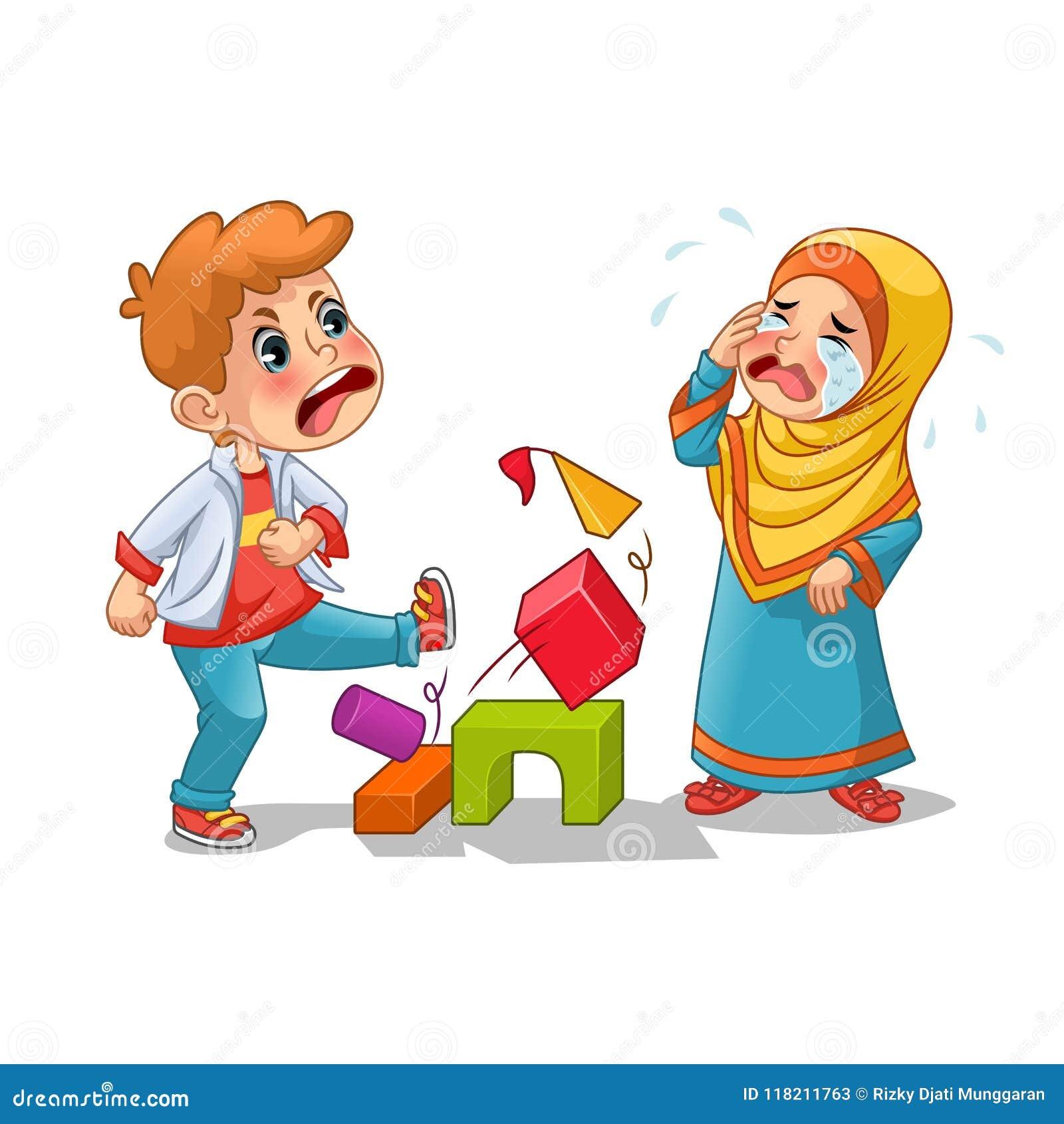 Muzułmański dziewczyna płacz Ponieważ chłopiec Niszczy Ona bloki
