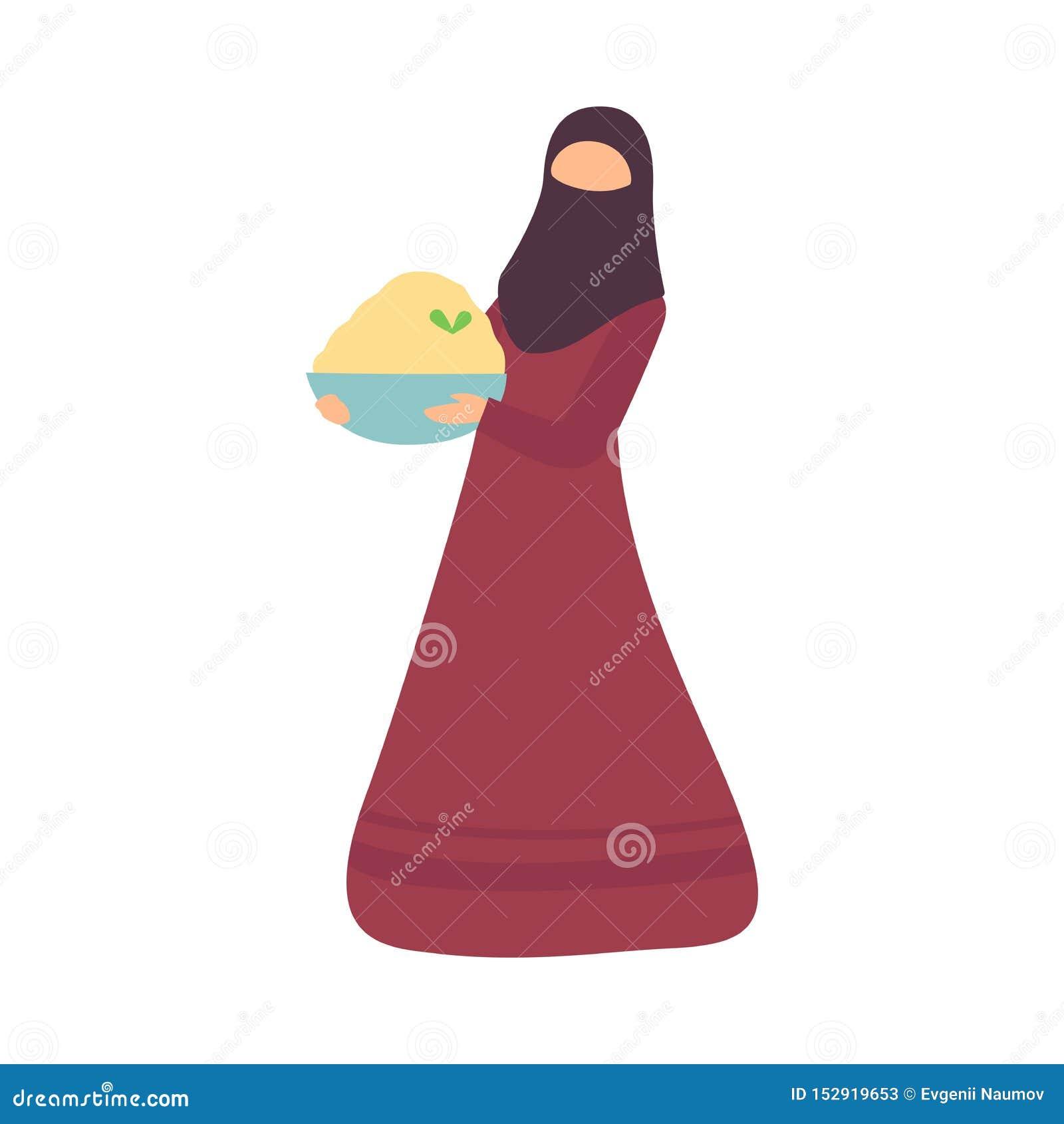 Muzułmański kobiety mienia puchar Tradycyjny jedzenie Eid Al Adha świętowania wektoru Islamska Wakacyjna ilustracja przy okazji