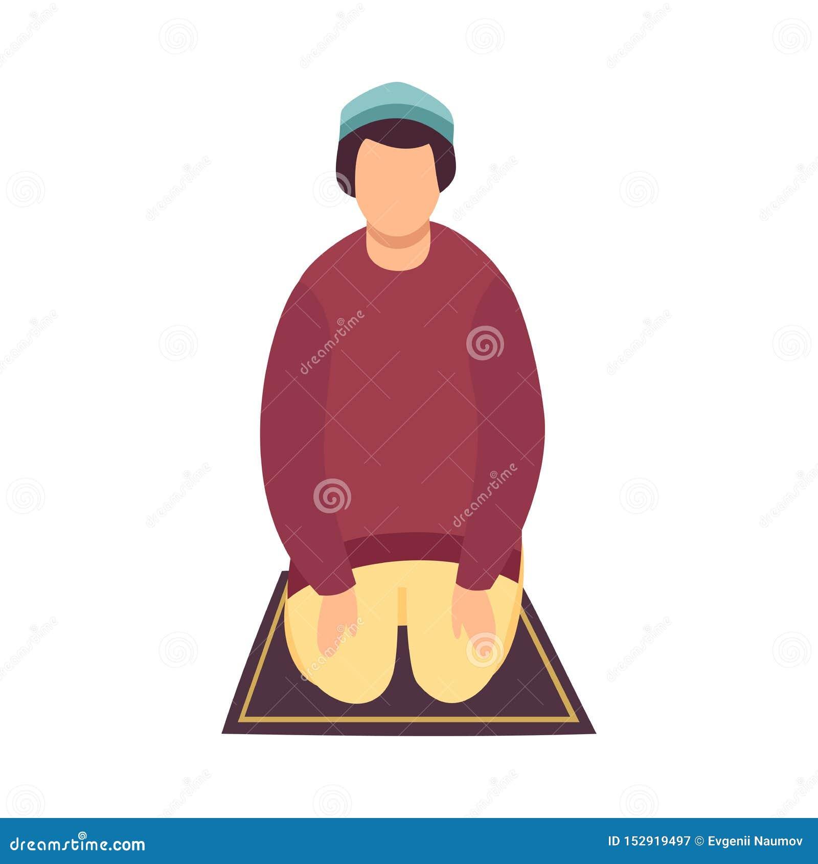 Muzułmański mężczyzny modlenie na Jego kolanach, Eid Al Adha Islamski wakacje, Frontowego widoku wektoru ilustracja