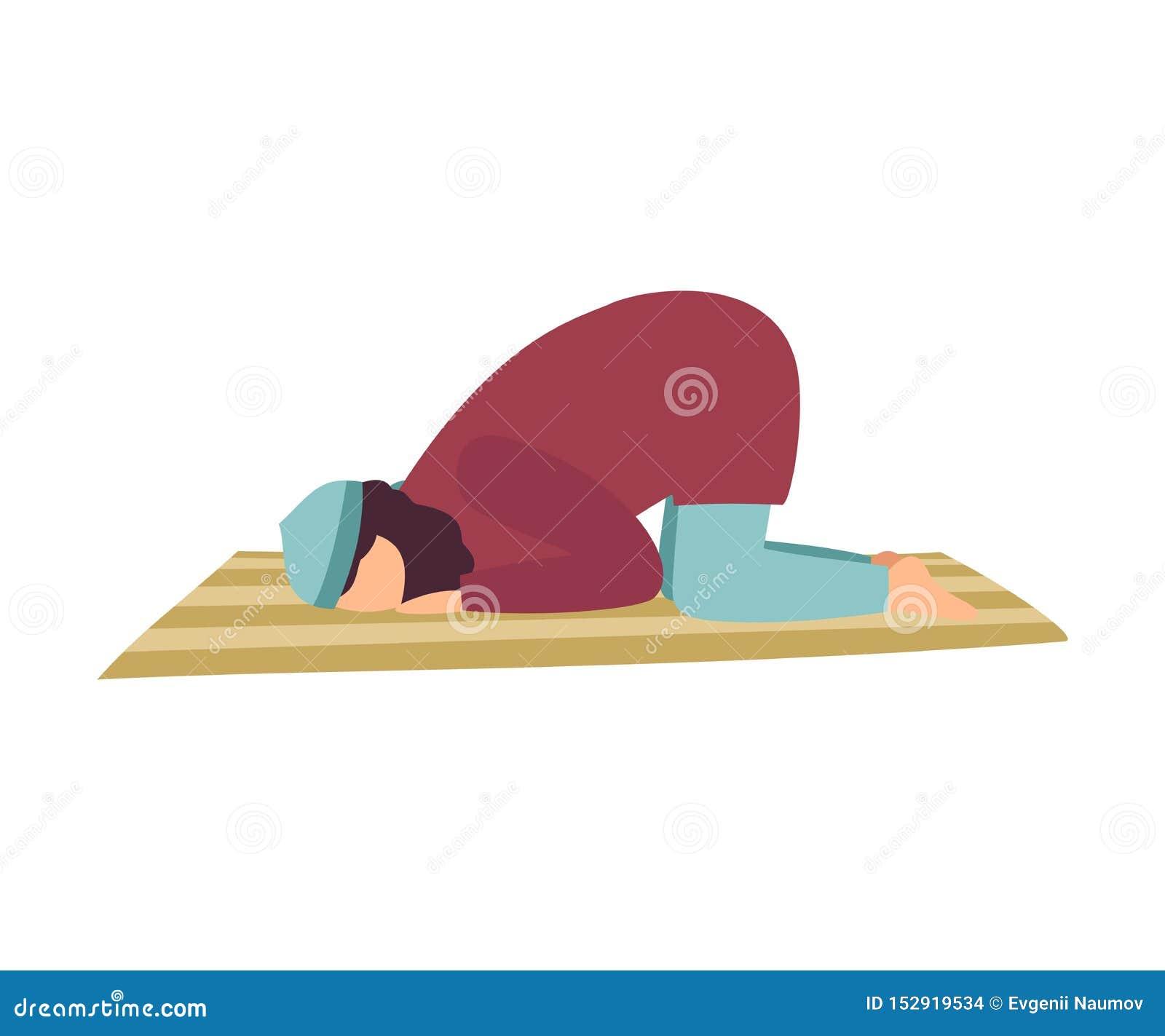 Muzułmański mężczyzny modlenie na Jego kolanach, mężczyzna Komunikuje z bogiem, Eid Al Adha Islamska Wakacyjna Wektorowa ilustrac