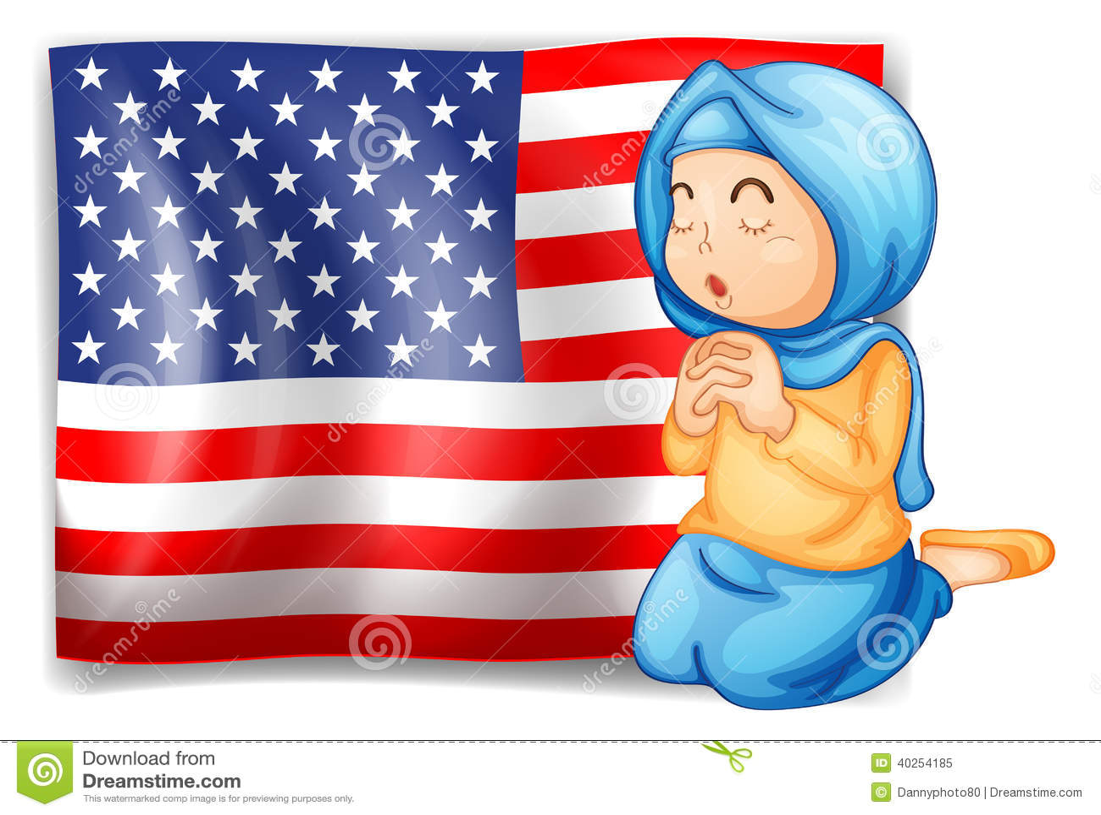 Muzułmański modlenie przed usa flaga