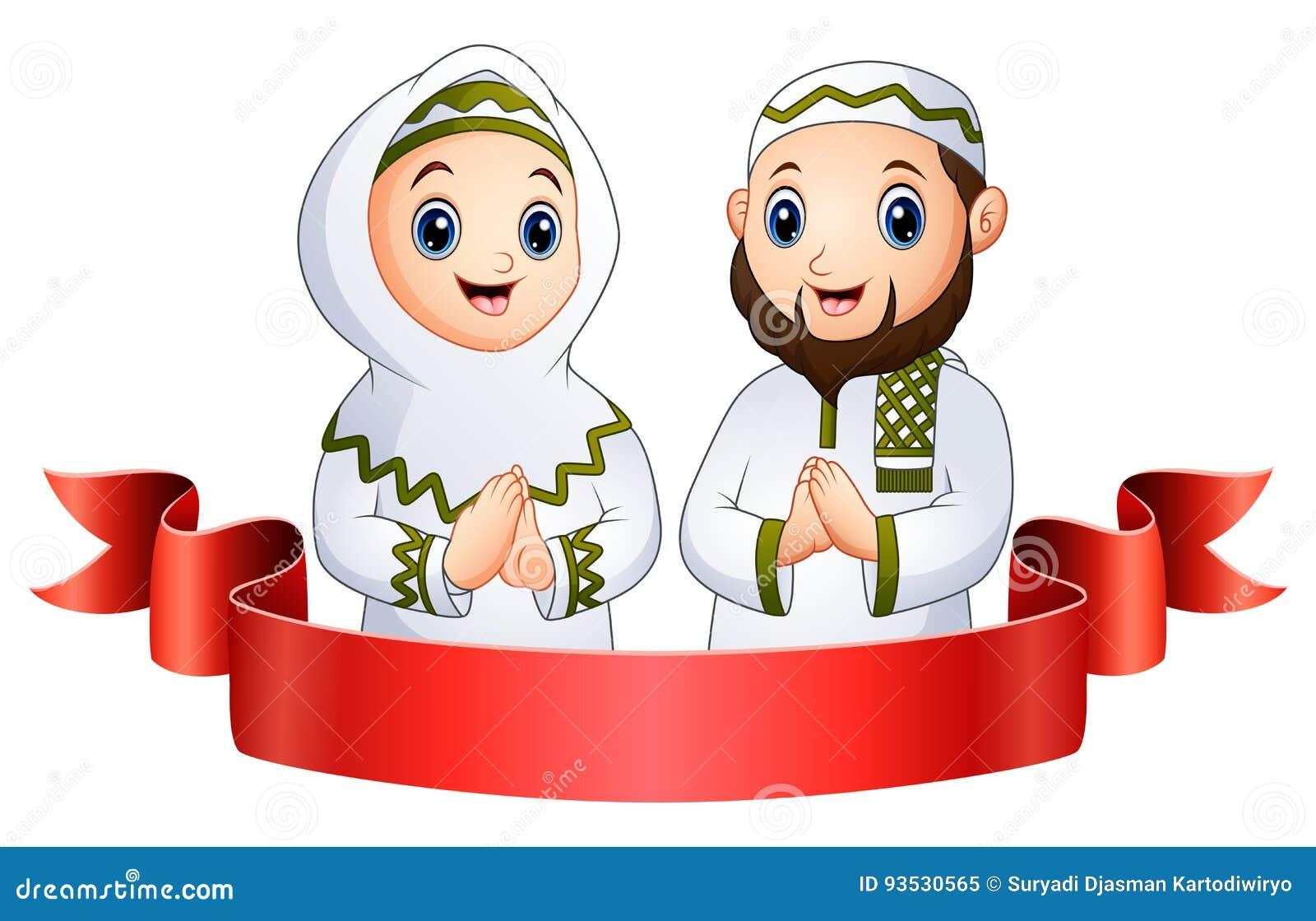 Muzułmański rodzinny powitanie z czerwonym faborkiem