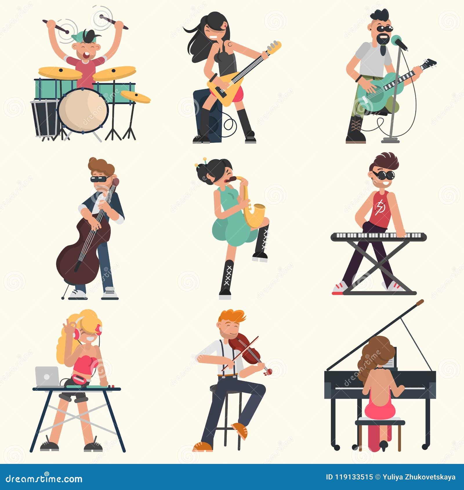 Muzycy z ich instrumentami muzycznymi ustawiającymi Koloru wektoru ilustracje