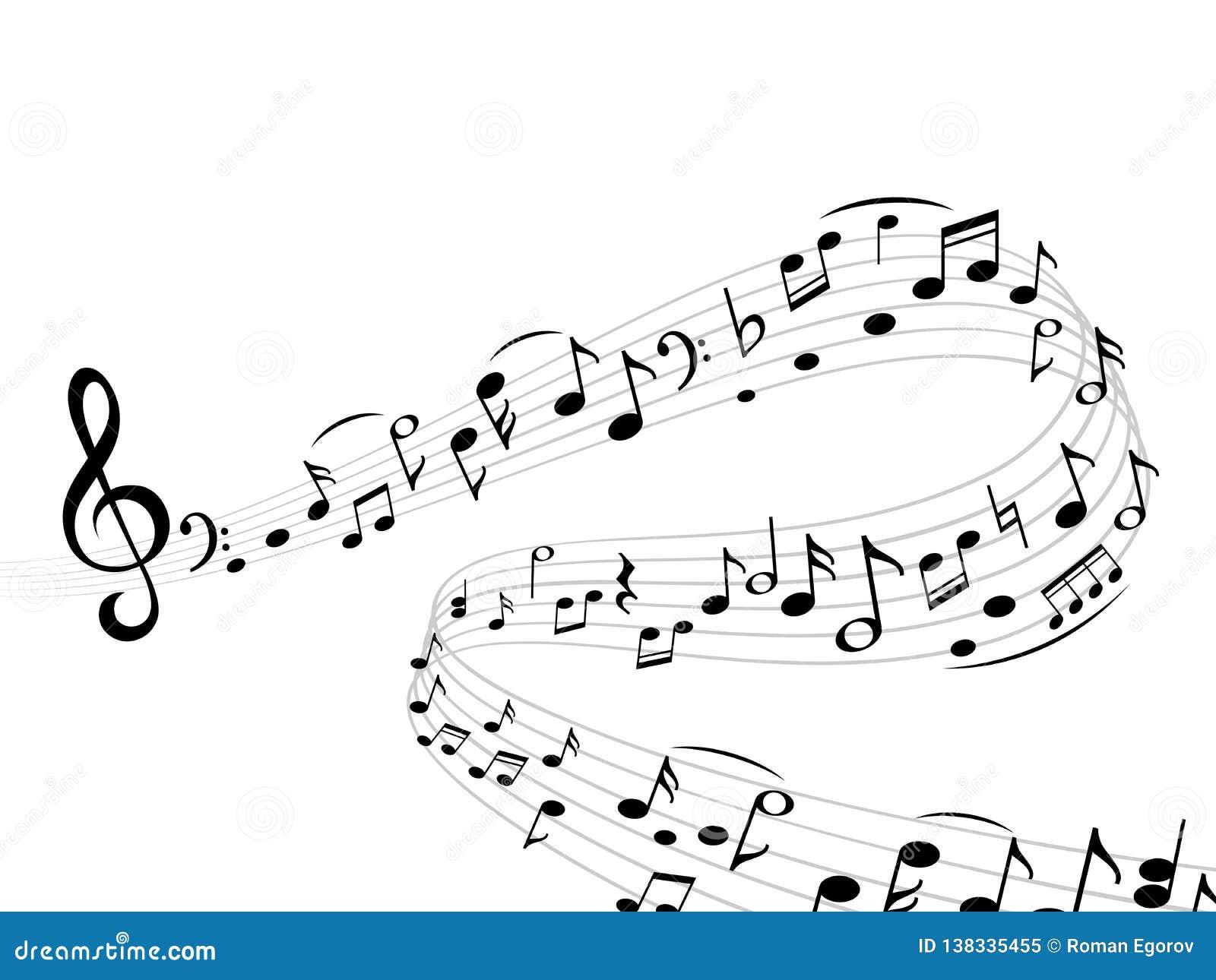 Muzyczna notatki fala Abstrakcjonistyczny zawijas muzykalnej notatki treble clef sylwetek harmonii klepki wektoru skład