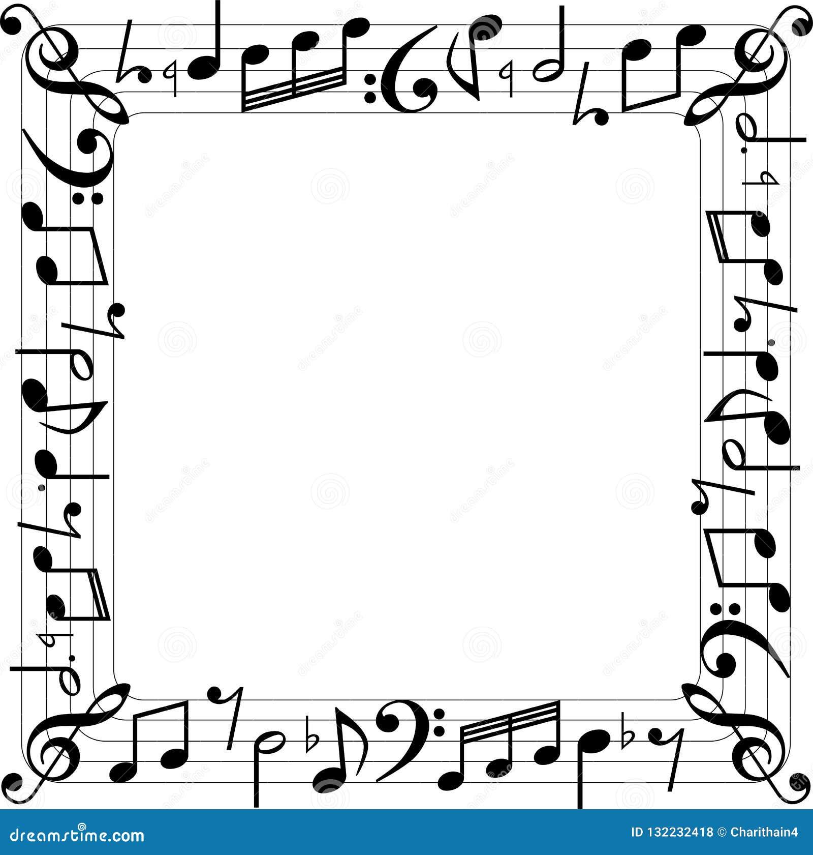 Muzyczna notatki kwadratowego pudełka granica