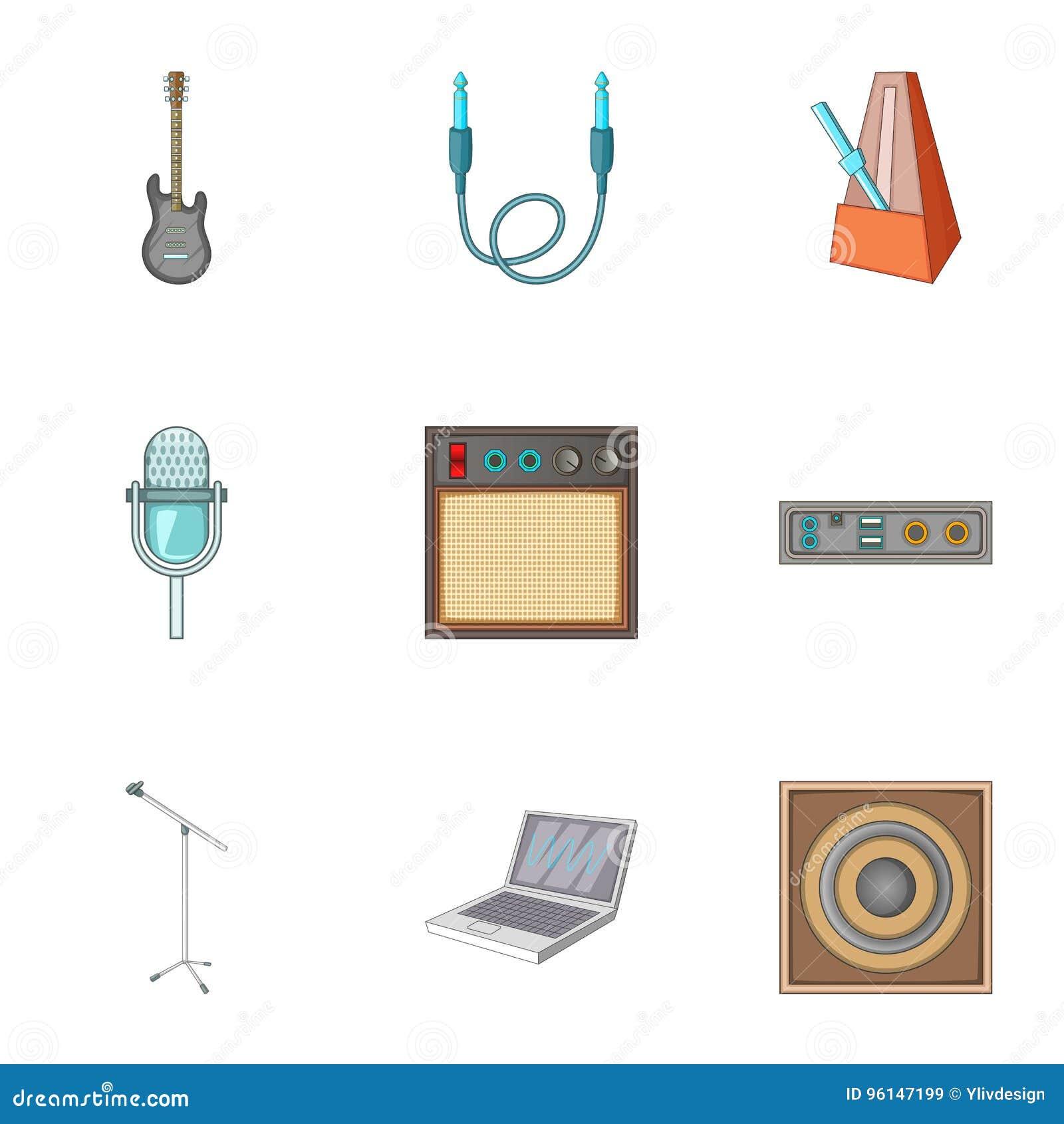 Muzyczne pracowniane wyposażenie ikony ustawiać, kreskówka styl
