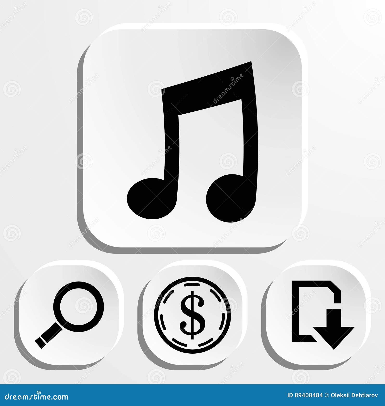 Muzycznego ikona zapasu wektorowy ilustracyjny płaski projekt