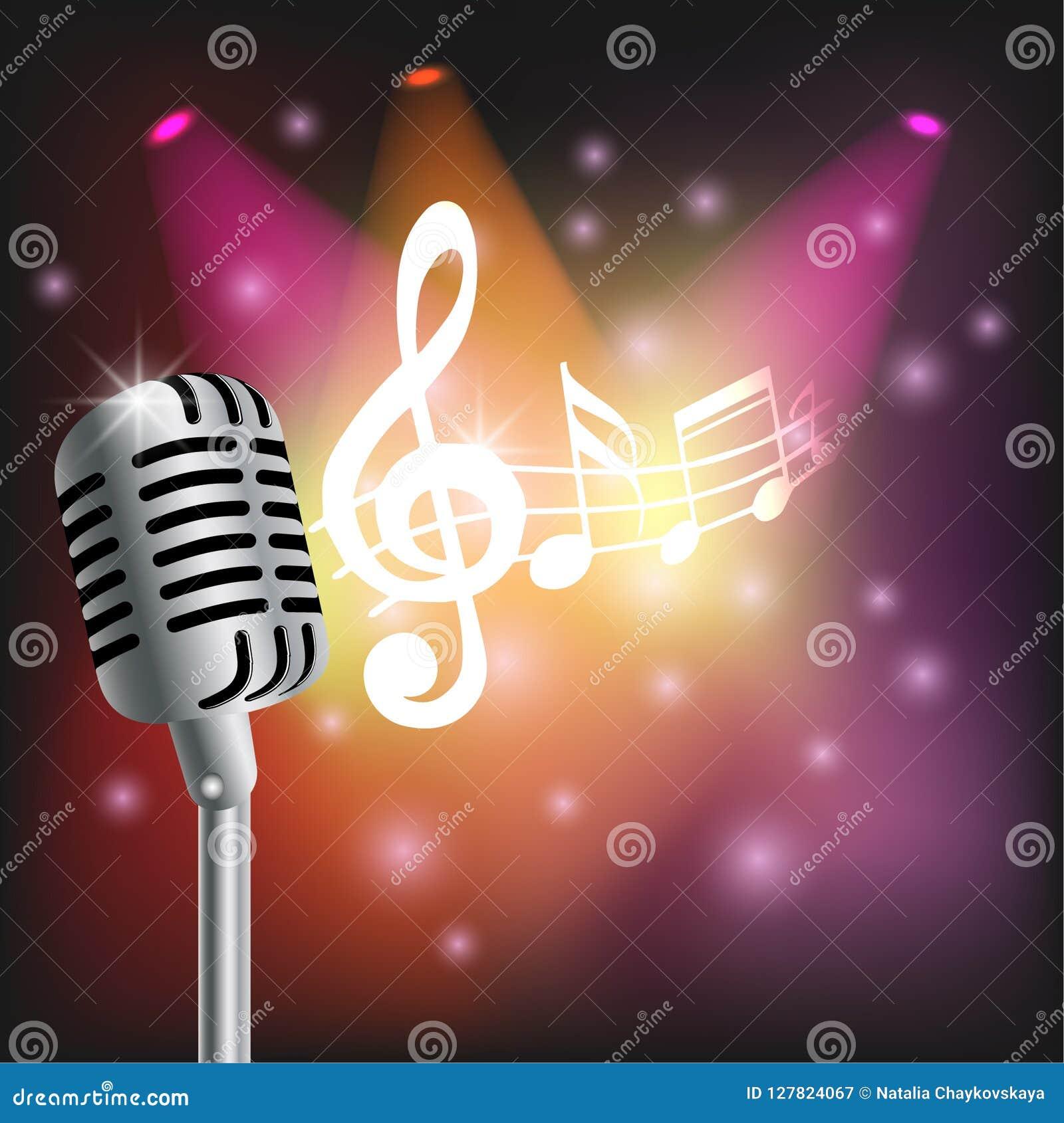 Muzycznego tła realistyczny mikrofon na jaskrawym tło notatek światła reflektorów świetle