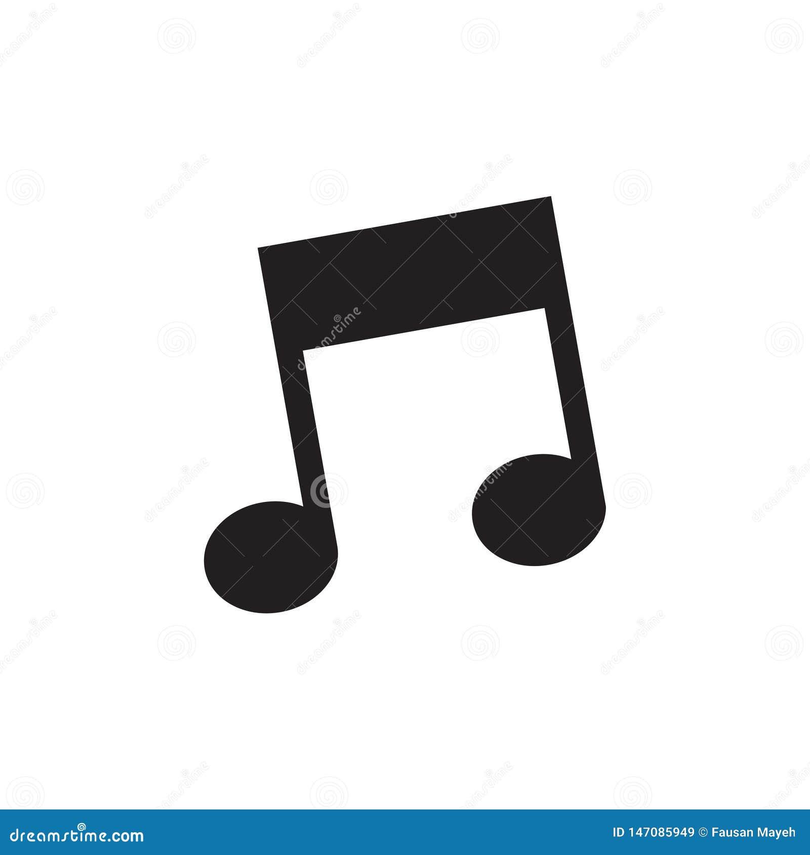 Muzyczny ikona wektor, melodia, piosenka, notatka, dźwięk, audia znak Odizolowywający na białym tle