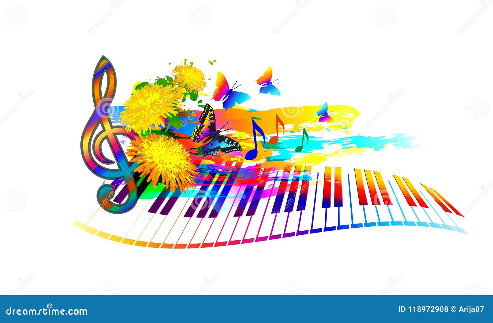 Muzyczny lato festiwalu tło z fortepianową klawiaturą, kwiatami, muzyk notatkami i motylem,